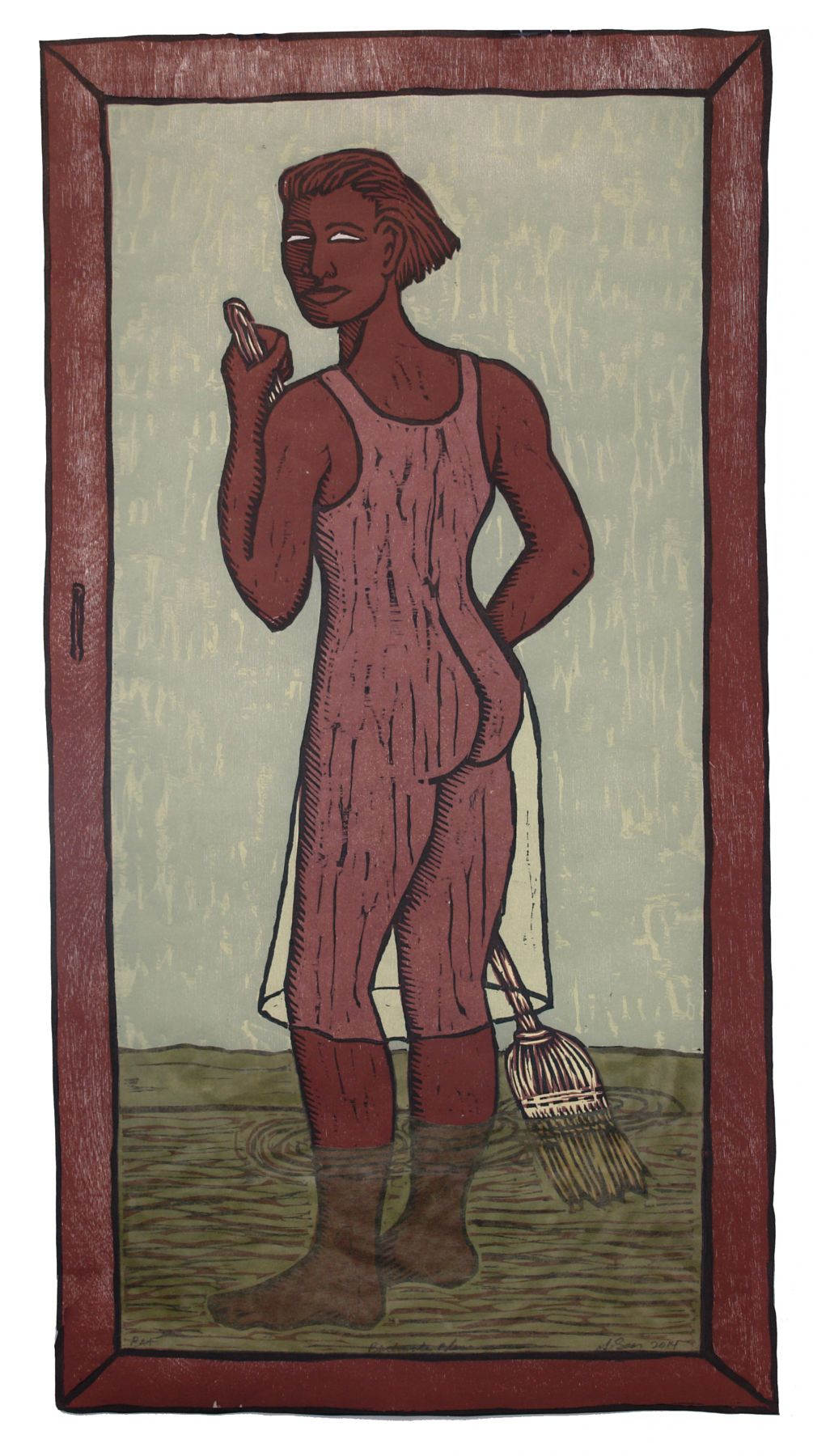 Alison Saar, Backwater Blues, 2014, woodcut, chine collé, 27 3/8 x 14 3/8 inches, Edition 25/30