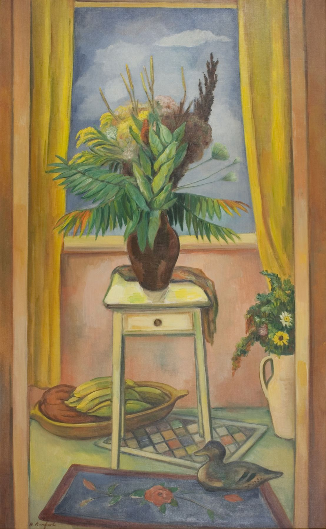 bernard karfiol, Still-life with Milkweed and Wild Stuff, 1947, oil on canvas, 50 x 30 inches