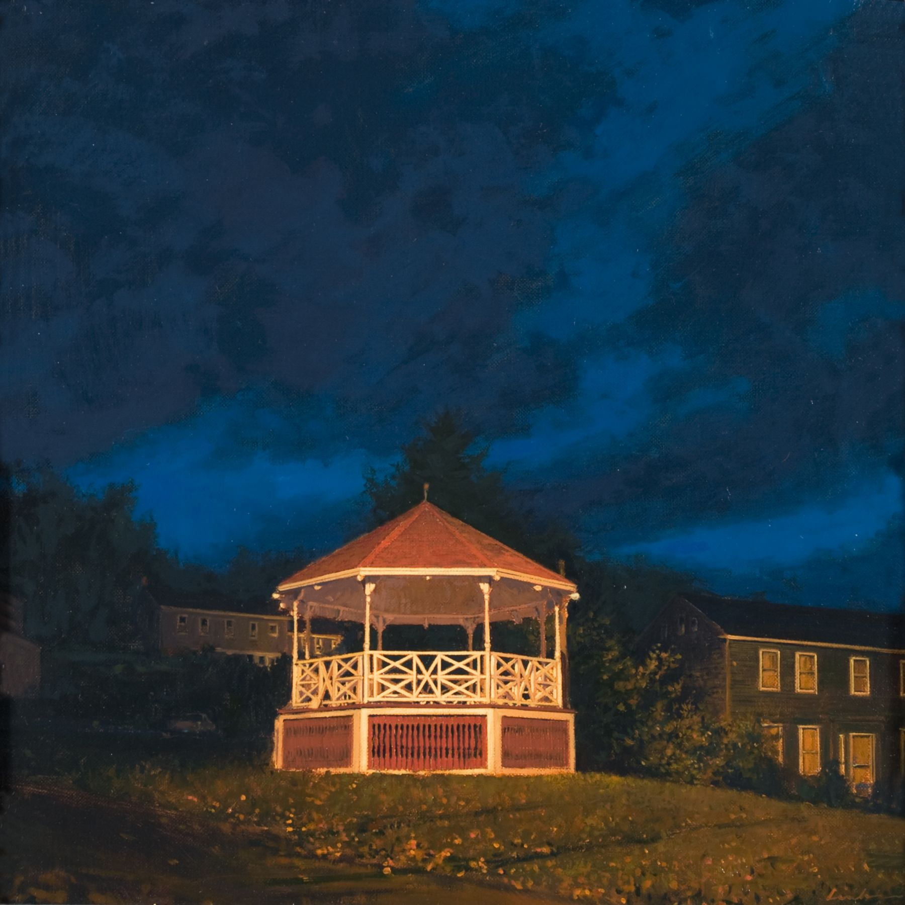 linden frederick, American Bandstand, 2008, oil on panel, 12 1/4 x 12 1/4 inches