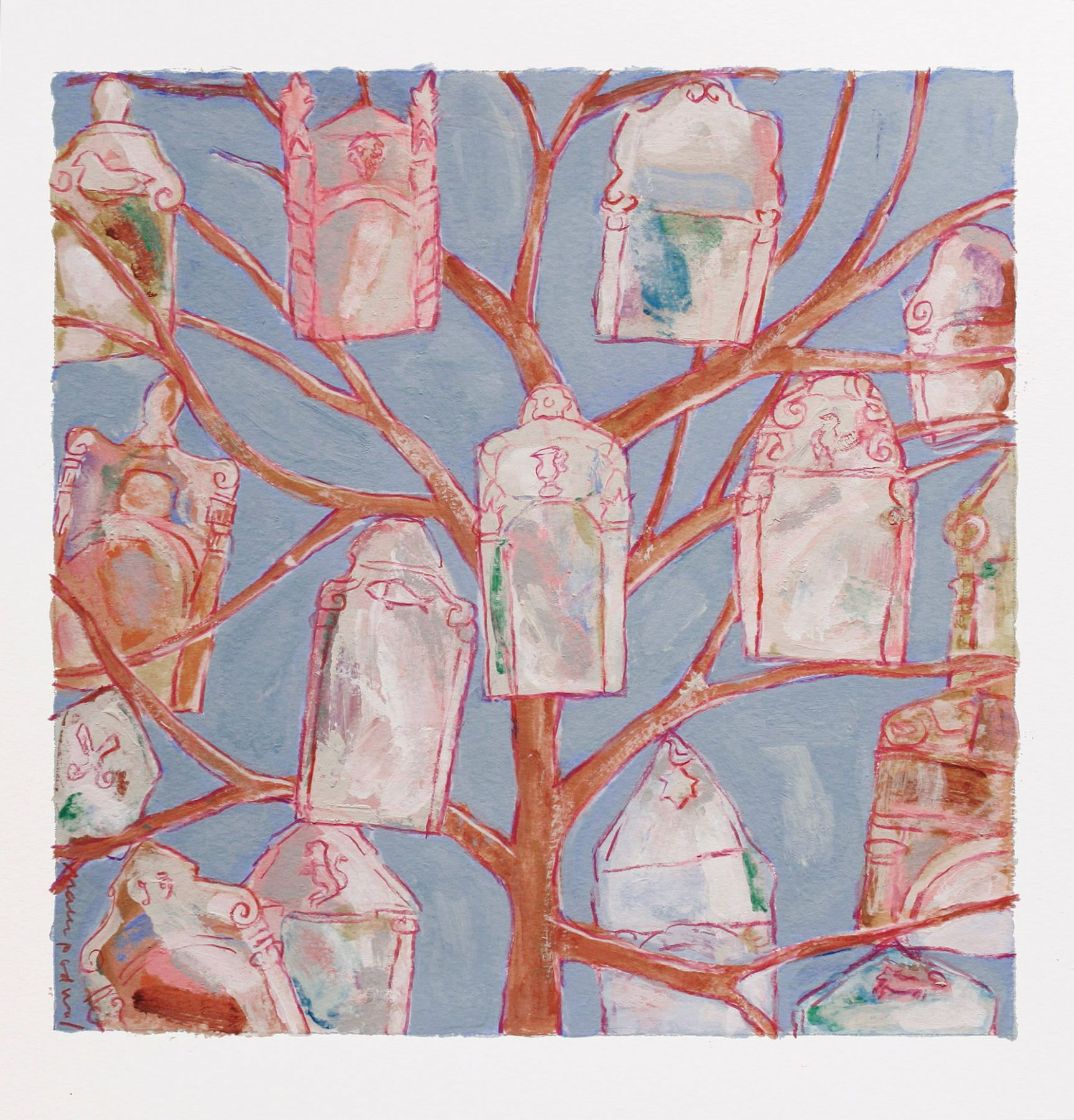 Mark Podwal, Ancestors, 2008, acrylic, gouache and colored pencil on paper, 12 x 12 inches