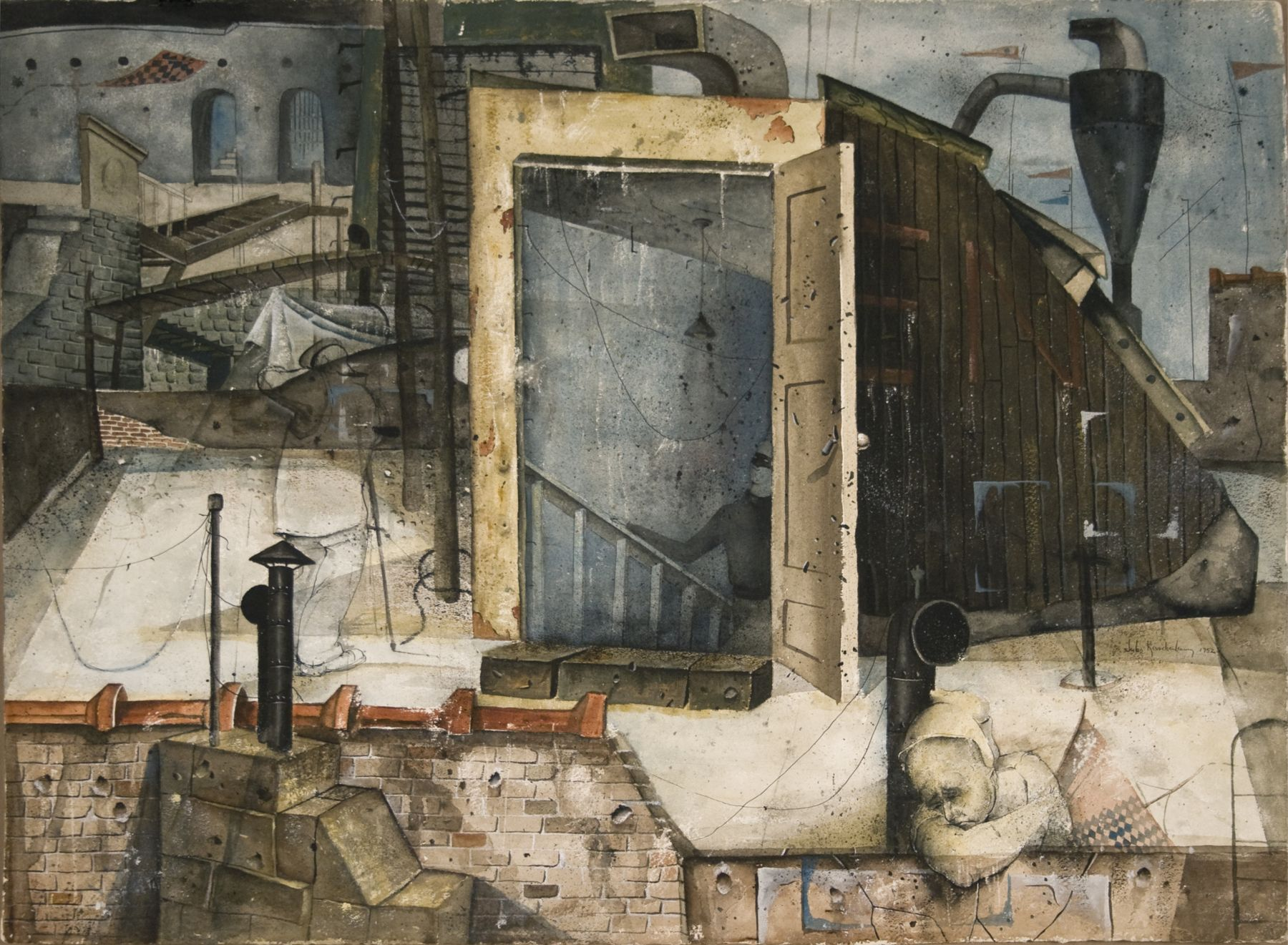 Jules Kirschenbaum, The Silent Time, 1952, watercolor and ink on paper, 22 3/4 x 30 3/4 inches
