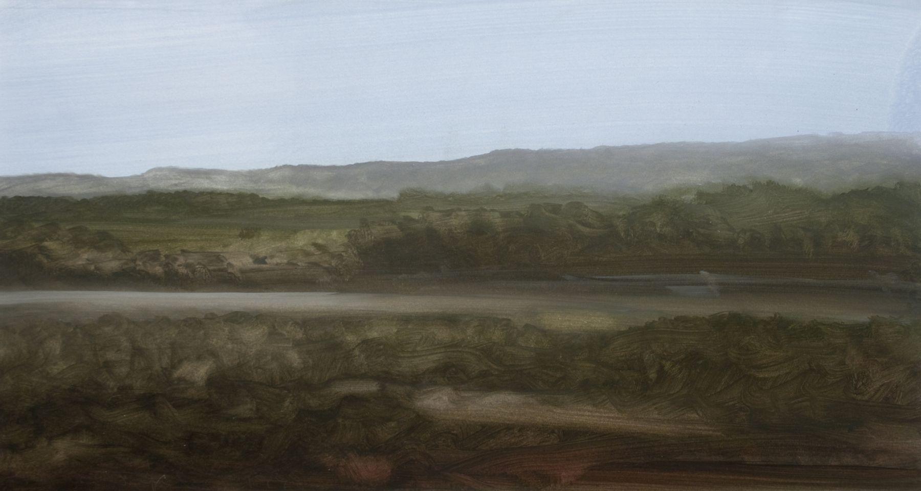 Tula Telfair, Grey Mountains, 1998, oil on paper, 14 x 26 inches
