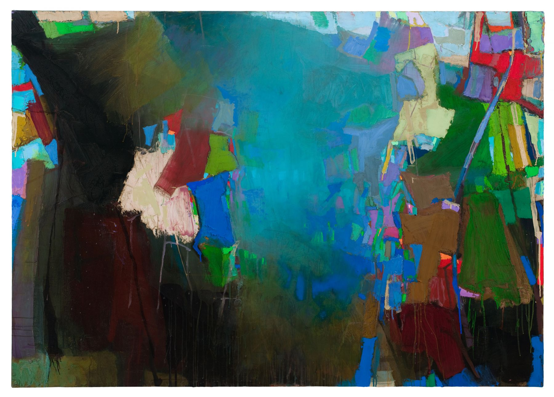 Brian Rutenberg Blue Drop (SOLD), 2010, oil on linen, 56 x 79 inches