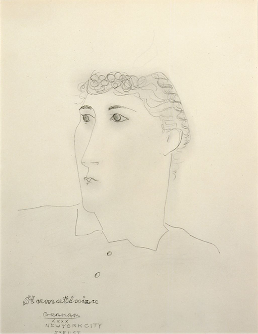 John Graham, Stormatinira, 1940, pencil on paper, 16 1/2 x 13 inches