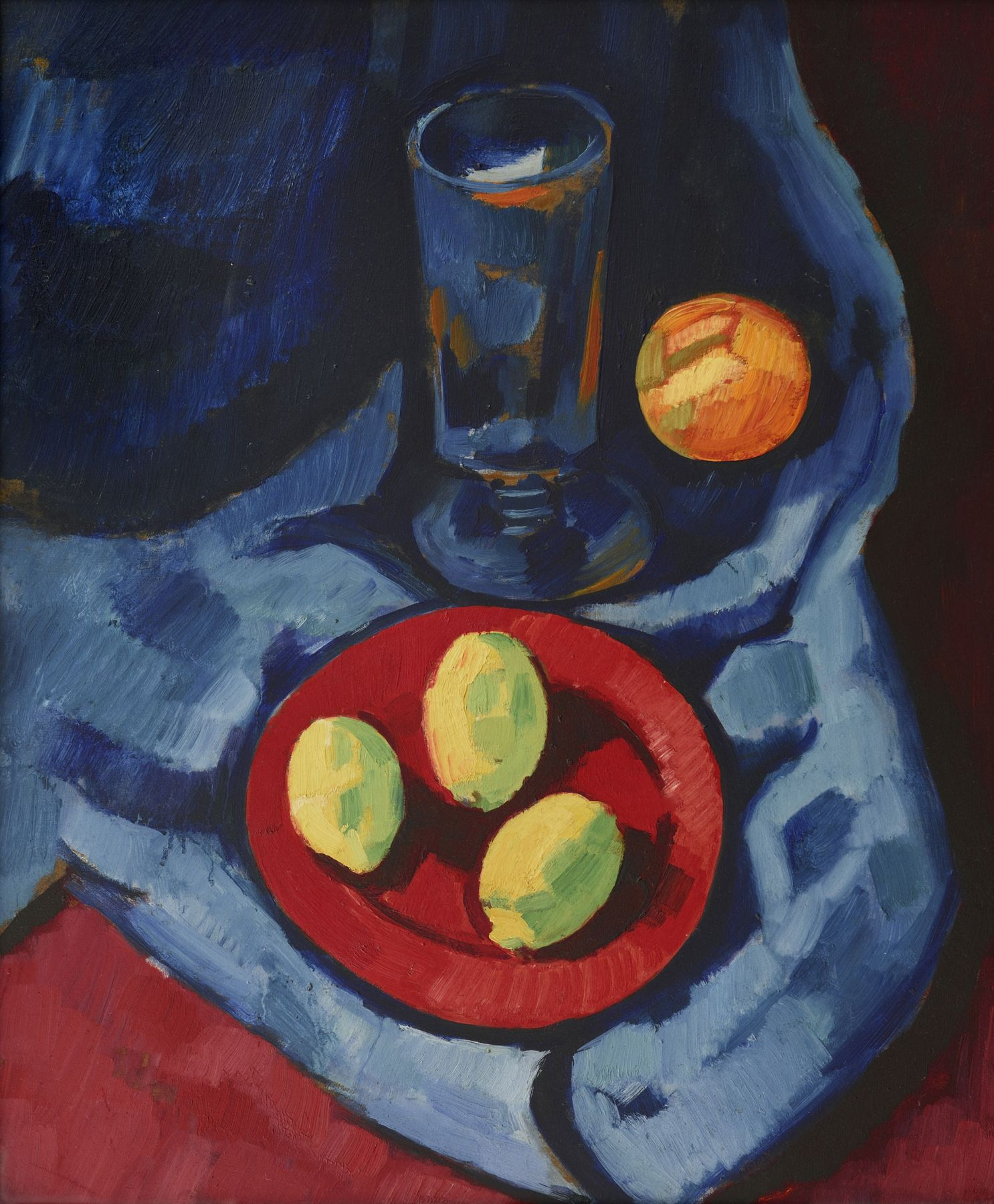 marsden hartley, Still Life with Lemons (Fruit and Tumbler), 1928, oil on composition board, 23 7/8 x 19 5/8 inches