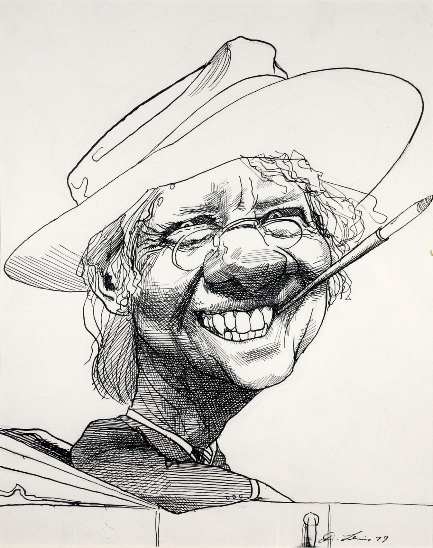 David Levine, Jimmy Carter, 1979, ink on paper, 13 3/4 x 11 inches
