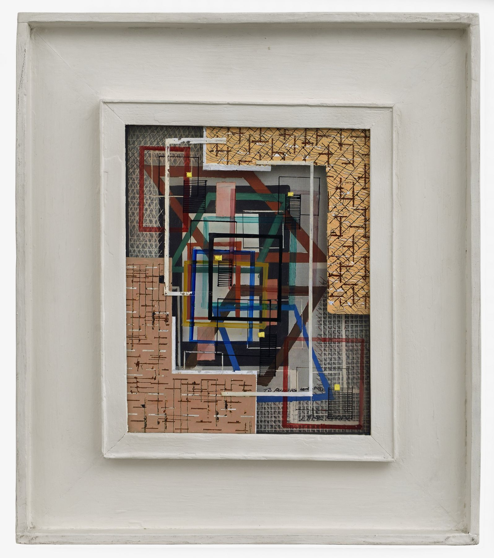 irene rice pereira, Three Dimensional Abstract Composition, c. 1945 painted glass and board construction  9 1/4 x 7 1/4 x 1/8 inches  artist's shadow box frame: 16 x 14 x 1 3/8 inches