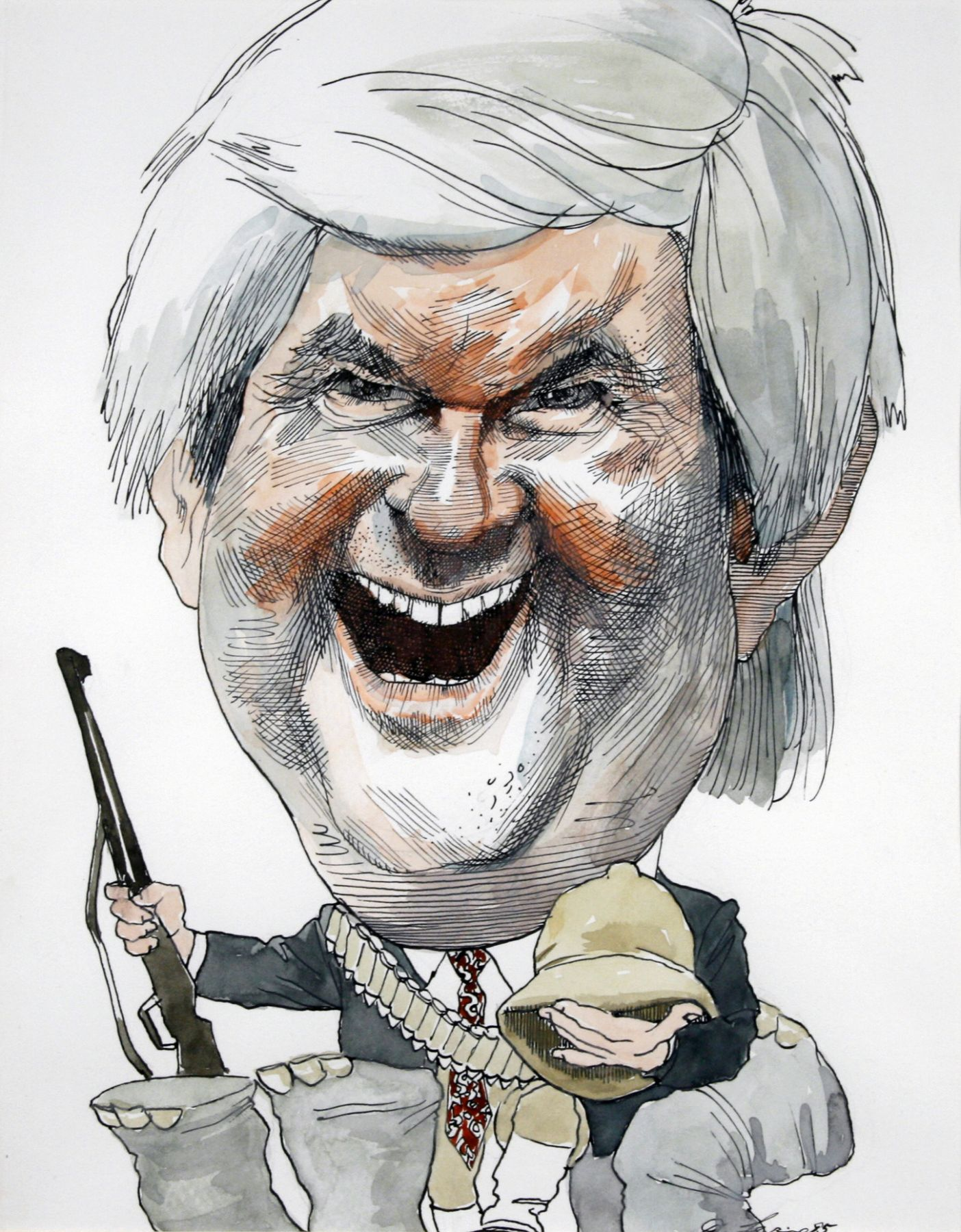 David Levine, Newt Gingrich, 1995, watercolor and pencil on paper, 14 x 11 inches