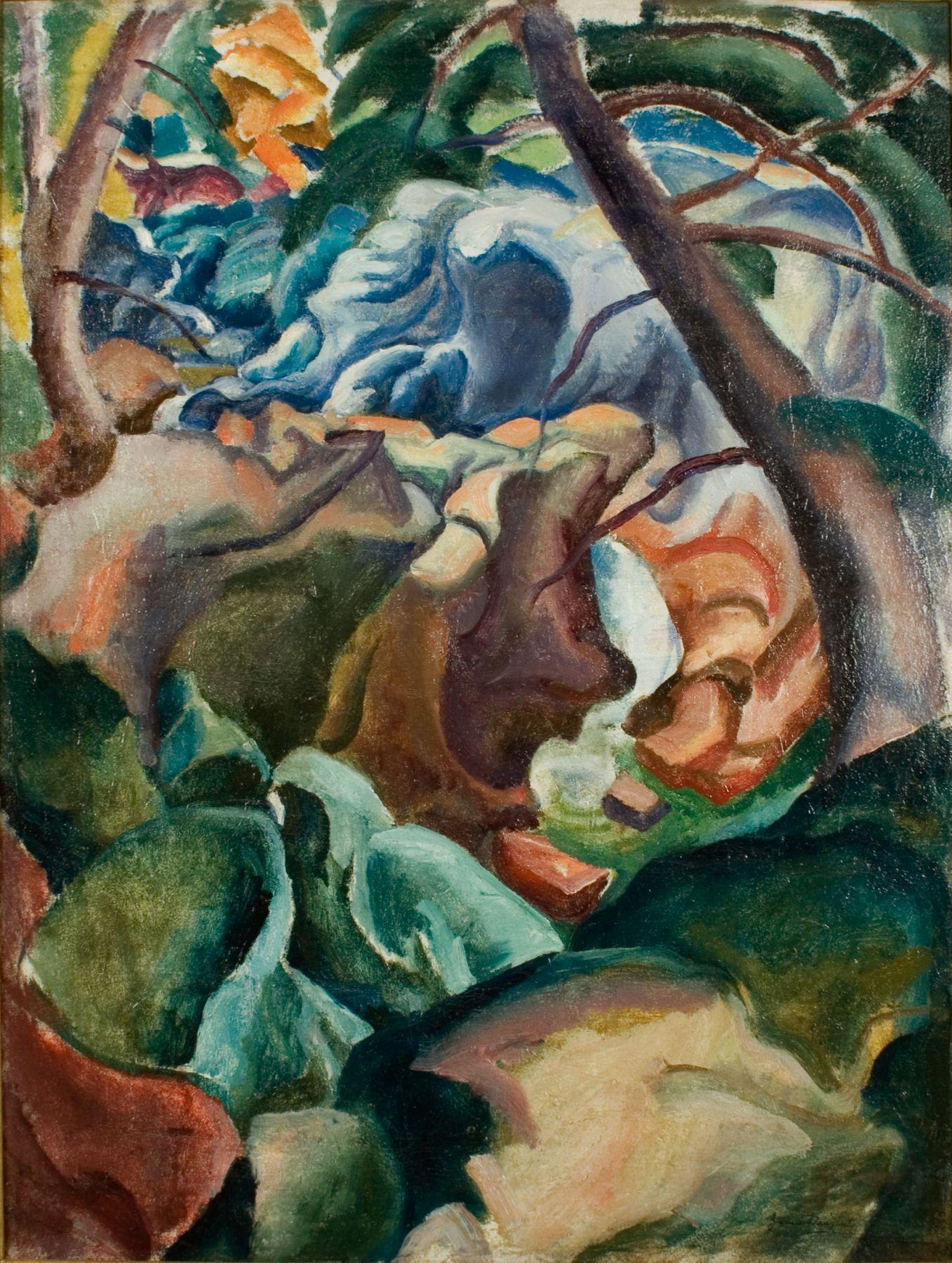 James H. Daugherty, Synchromist Landscape: Devils Glen, Weston, Connecticut, c.1927, oil on canvas, 40 x 30 inches
