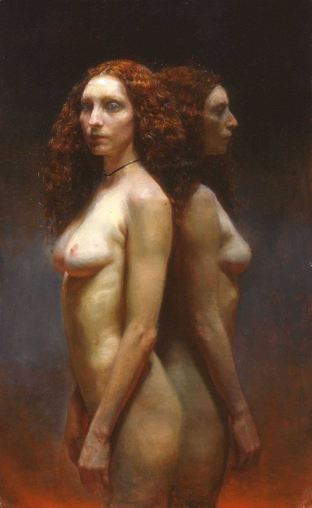 Steven Assael, Cassandra Twice, 2004, oil on board, 27 1/2 x 17 inches