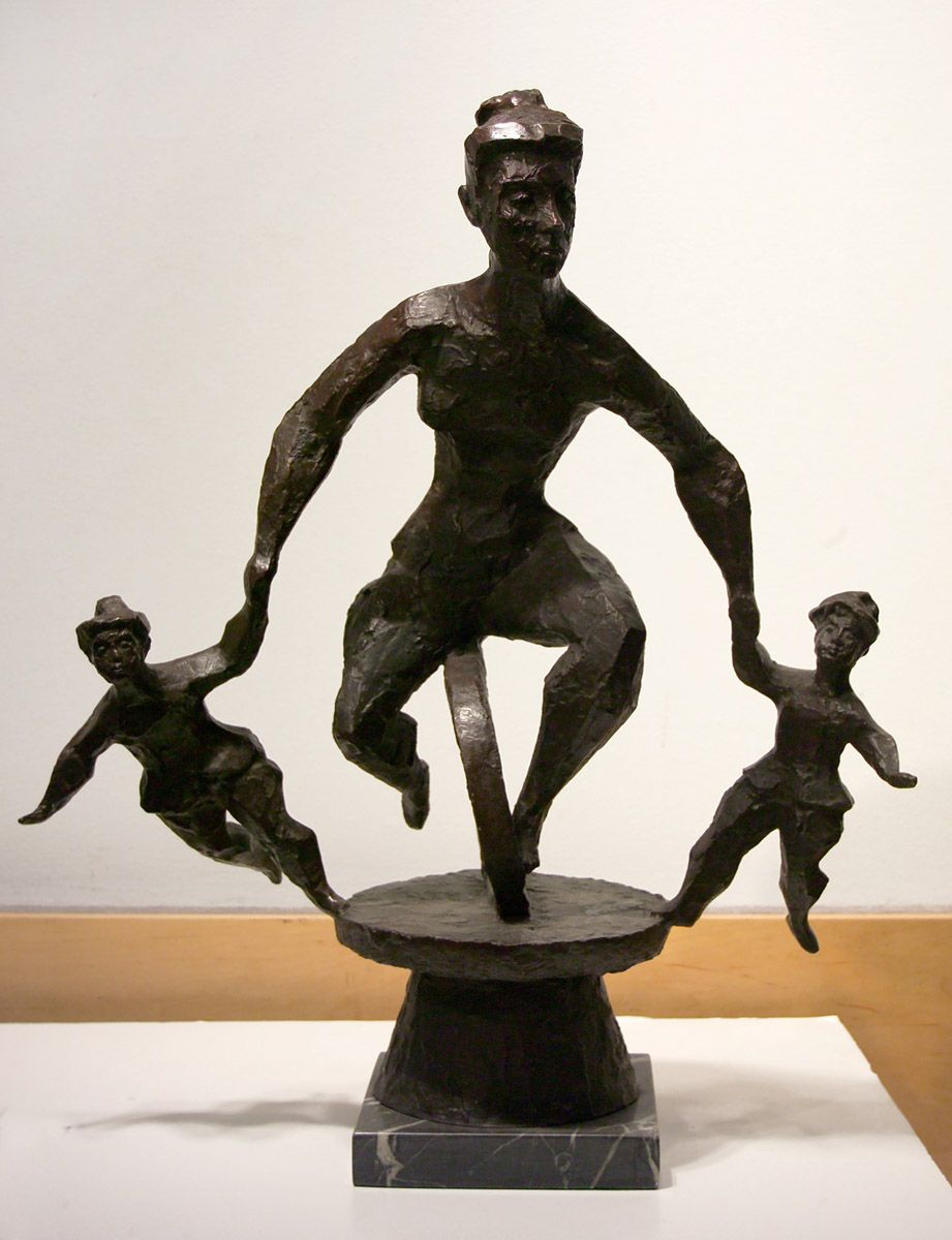 Chaim Gross, Mother and Two Children Playing on a Unicycle (The Game), 1970, bronze, 27 x 24 x 14 inches