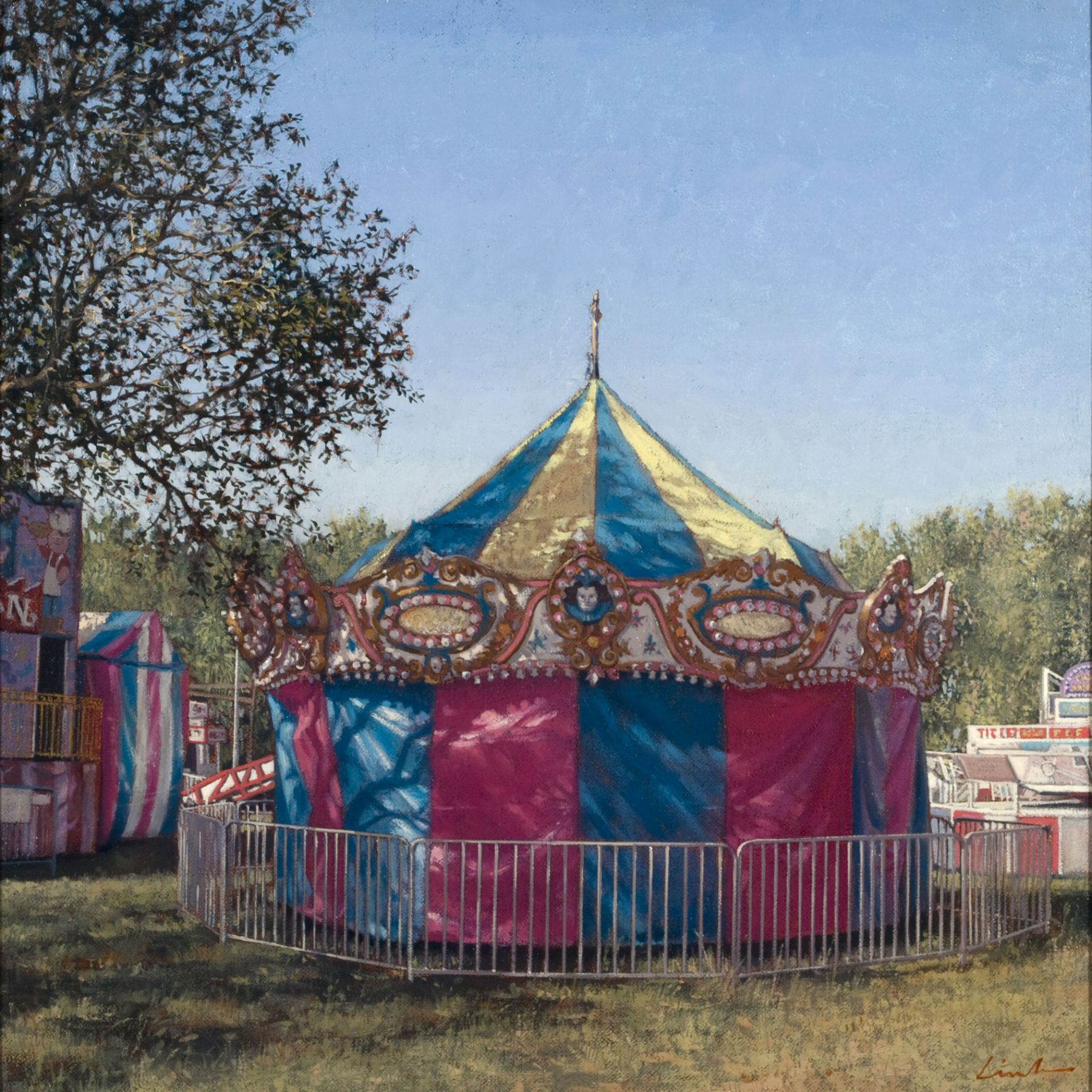 Linden Frederick, Fortunes (SOLD), 2007, oil on panel, 12 1/4 x 12 1/4 inches