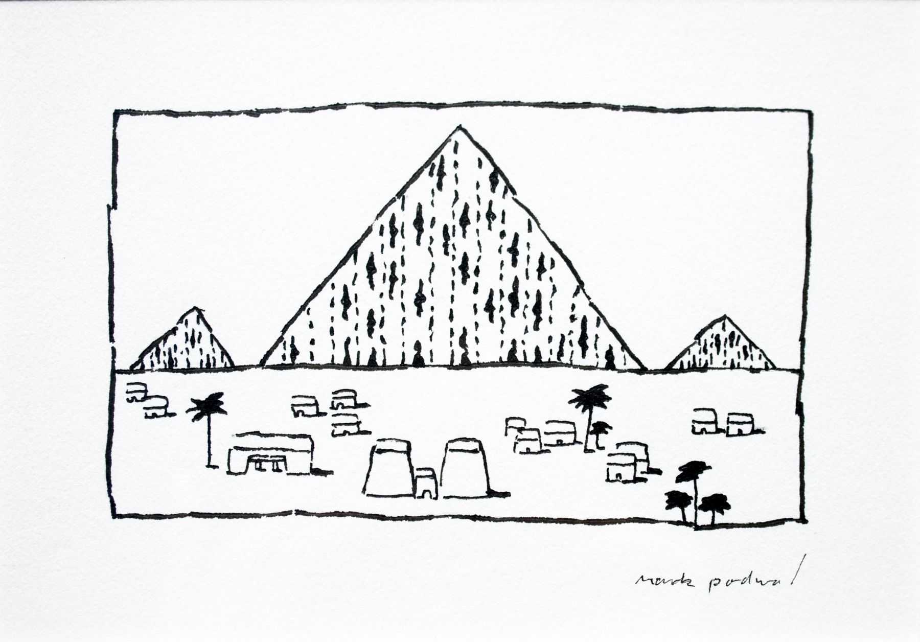 mark podwal, The Bread of Affliction (from Elie Wiesel, A Passover Haggadah), 1991, ink on paper, 3 x 4 1/2 inches