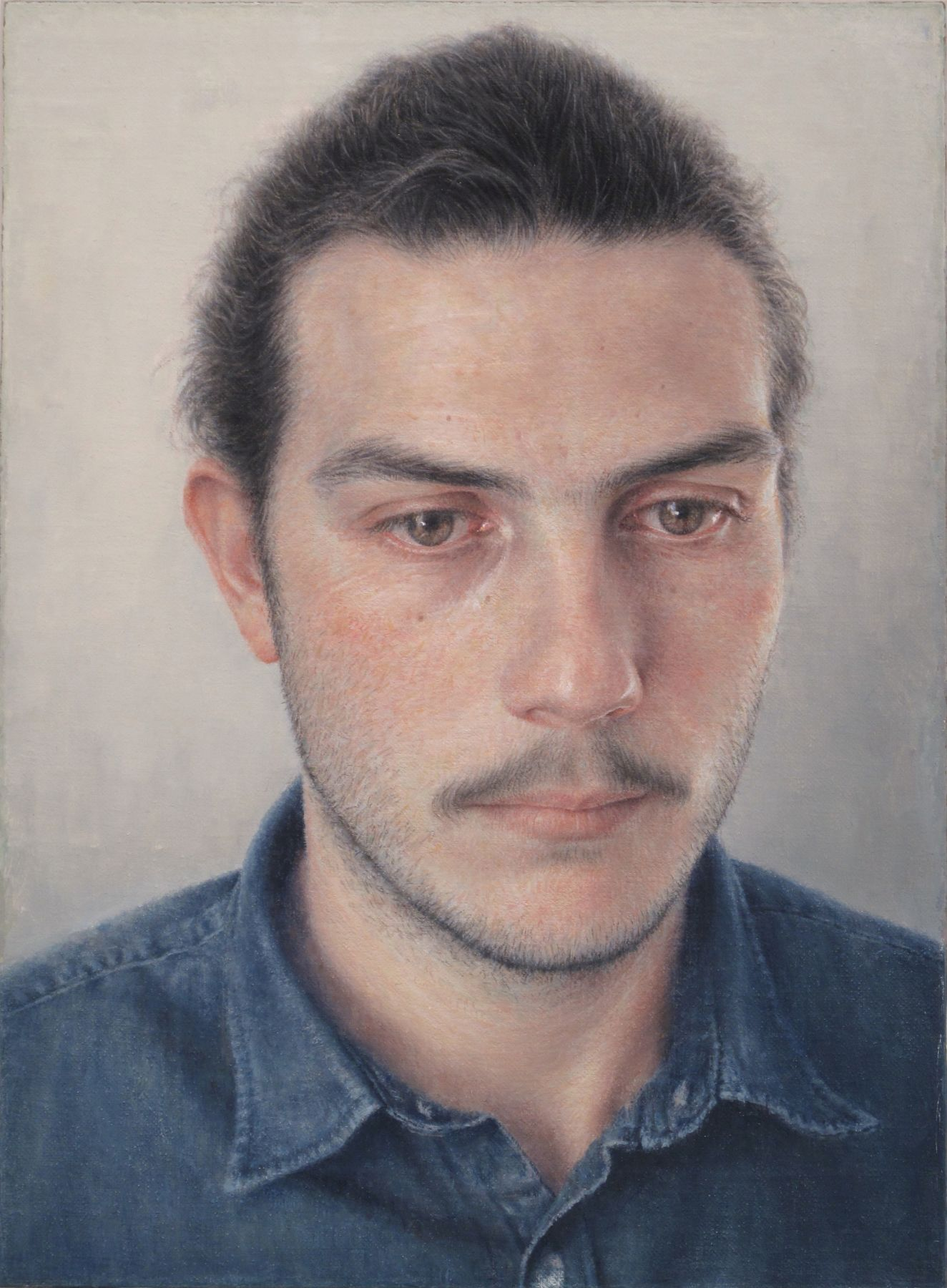 Robert Bauer, Anthony (SOLD), 2015, oil on canvas, mounted on wood, 8 3/8 x 6 1/8 inches