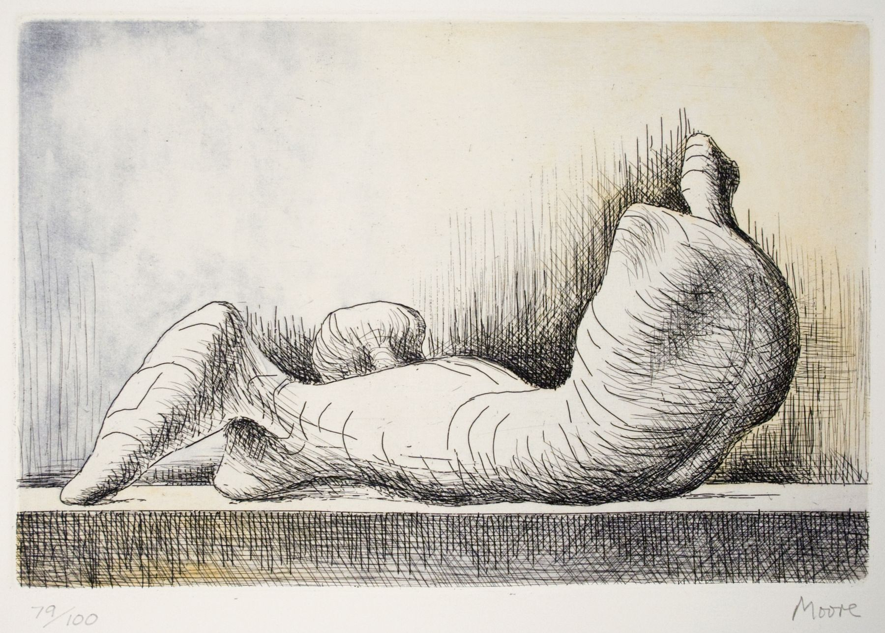 Henry Moore, Reclining Figure- Back, 1976, etching and acquatint, 6 1/4  x 9 1/2 inches image size, 25 1/2 x 18 inches paper size