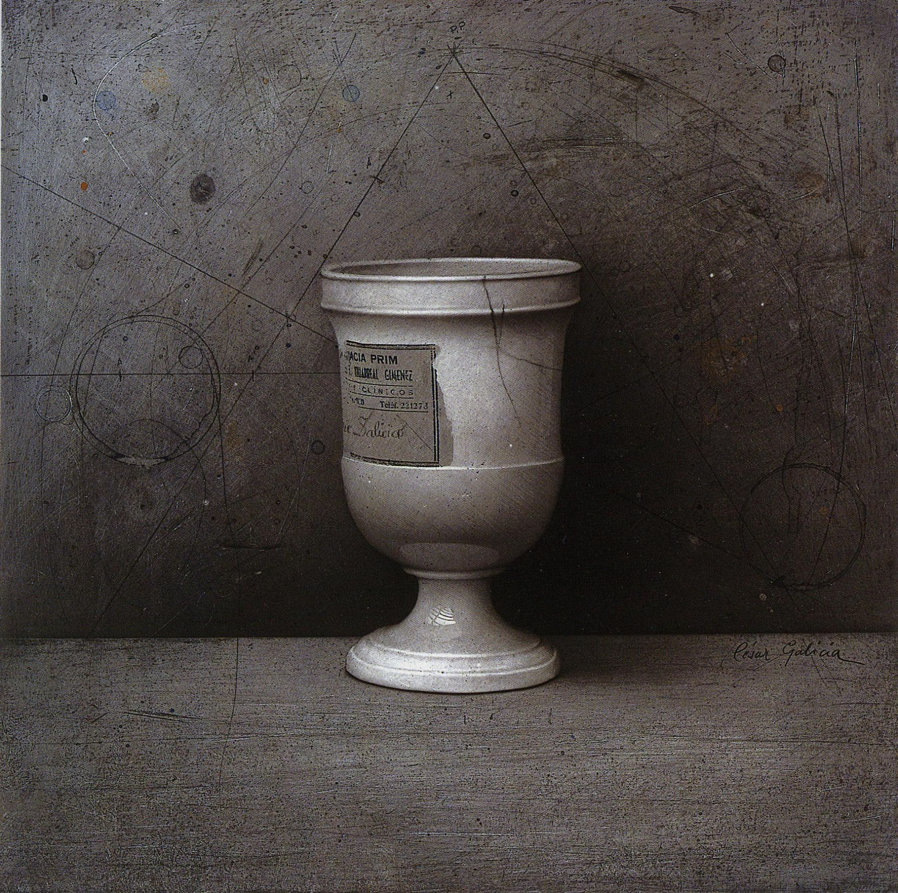 Cesar Galicia, La Copa de Ana (Ana's Goblet), 1989, mixed media on paper mounted on board, 15 1/2 x 15 1/2 inches