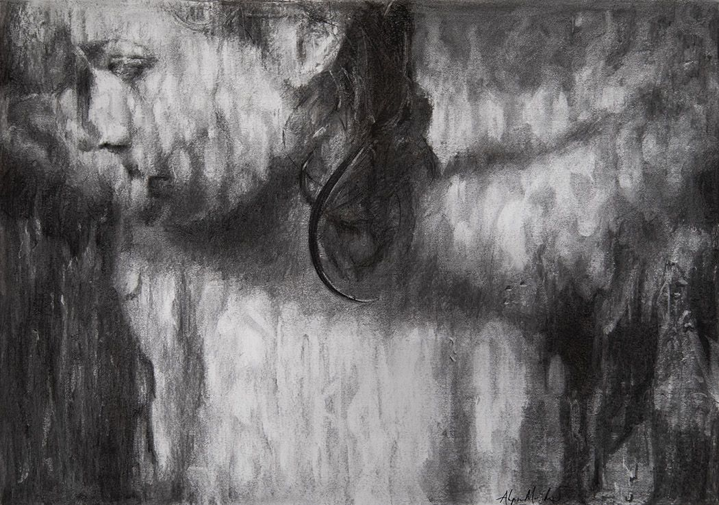 alyssa monks, Hung Drawing, 2018, charcoal on paper, 17 x 24 inches