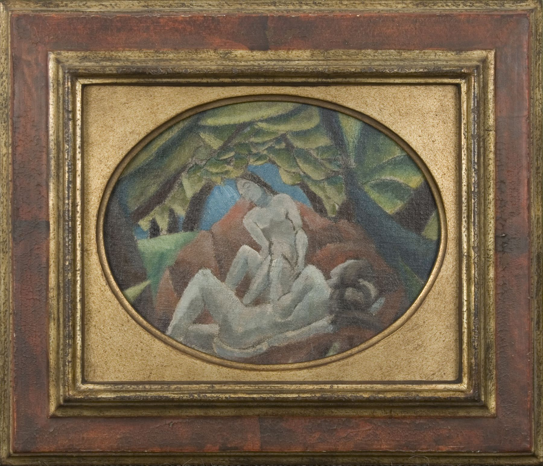 Max Weber, Nudes in Landscape, c. 1911, oil on canvas mounted on board, 7 1/8 x 9 1/8 inches