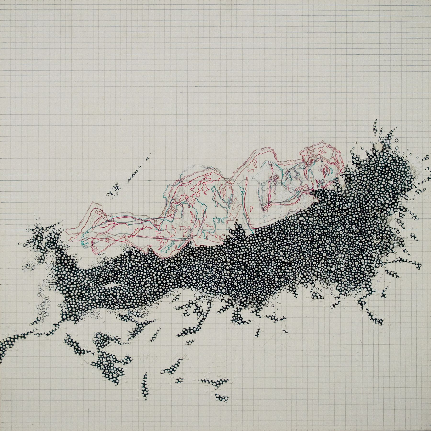 Amélie Chabannes, Bride of the Wind #2, 2010, acrylic, ink and tracing paper on wood panel, 19 3/4 x 19 3/4 inches