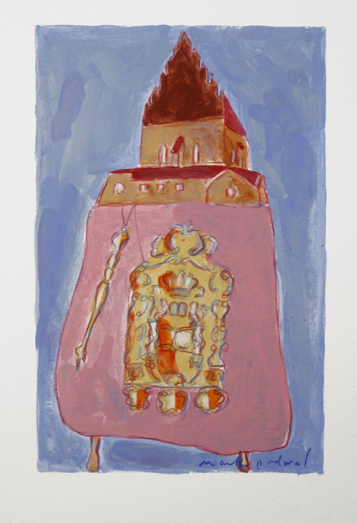 Mark Podwal, The Old-New Synagogue, 2008, acrylic, gouache and colored pencil on paper, 9 3/4 x 6 1/4