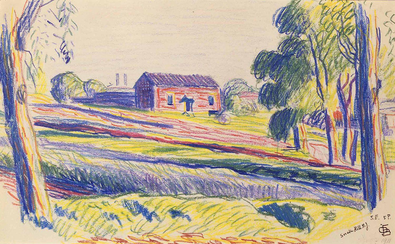 Oscar Bluemner, Snake Hills N.J., n.d., pastel on paper, 7 1/4 x 11 1/2 inches