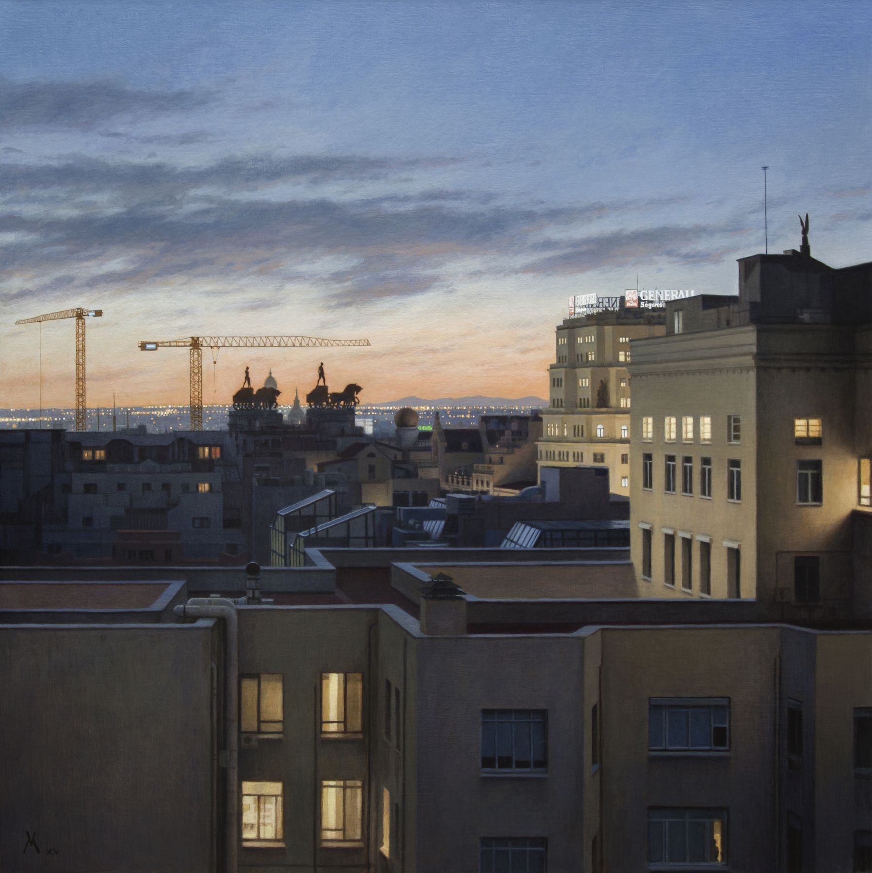 guillermo munoz vera, Quadrigas Over Madrid (Cuadrigas Sobre Madrid), 2015, oil on canvas mounted on panel, 59 x 59 inches