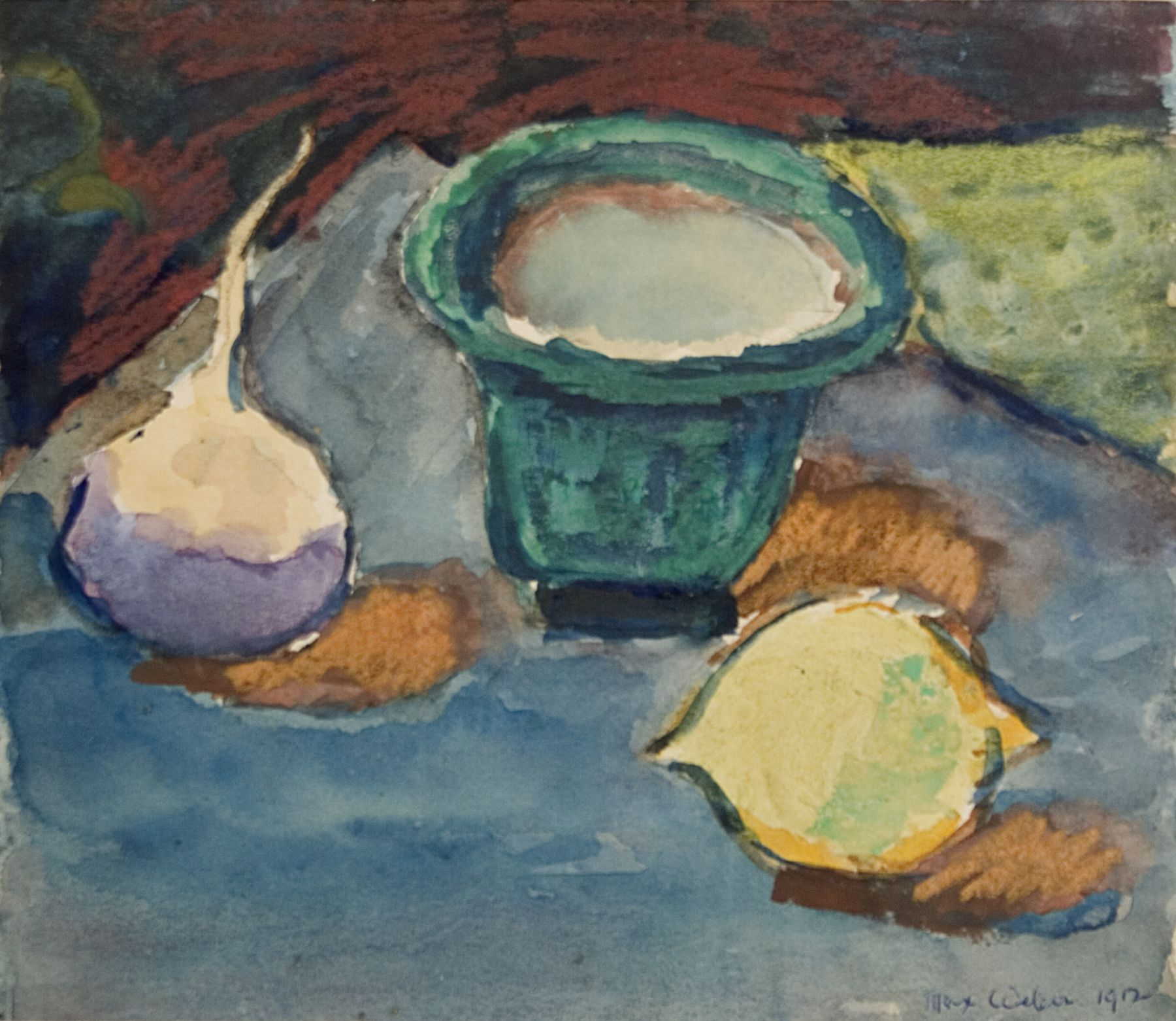 Max Weber, Still Life, 1912, watercolor and gouache on paper, 7 3/4 x 9 inches