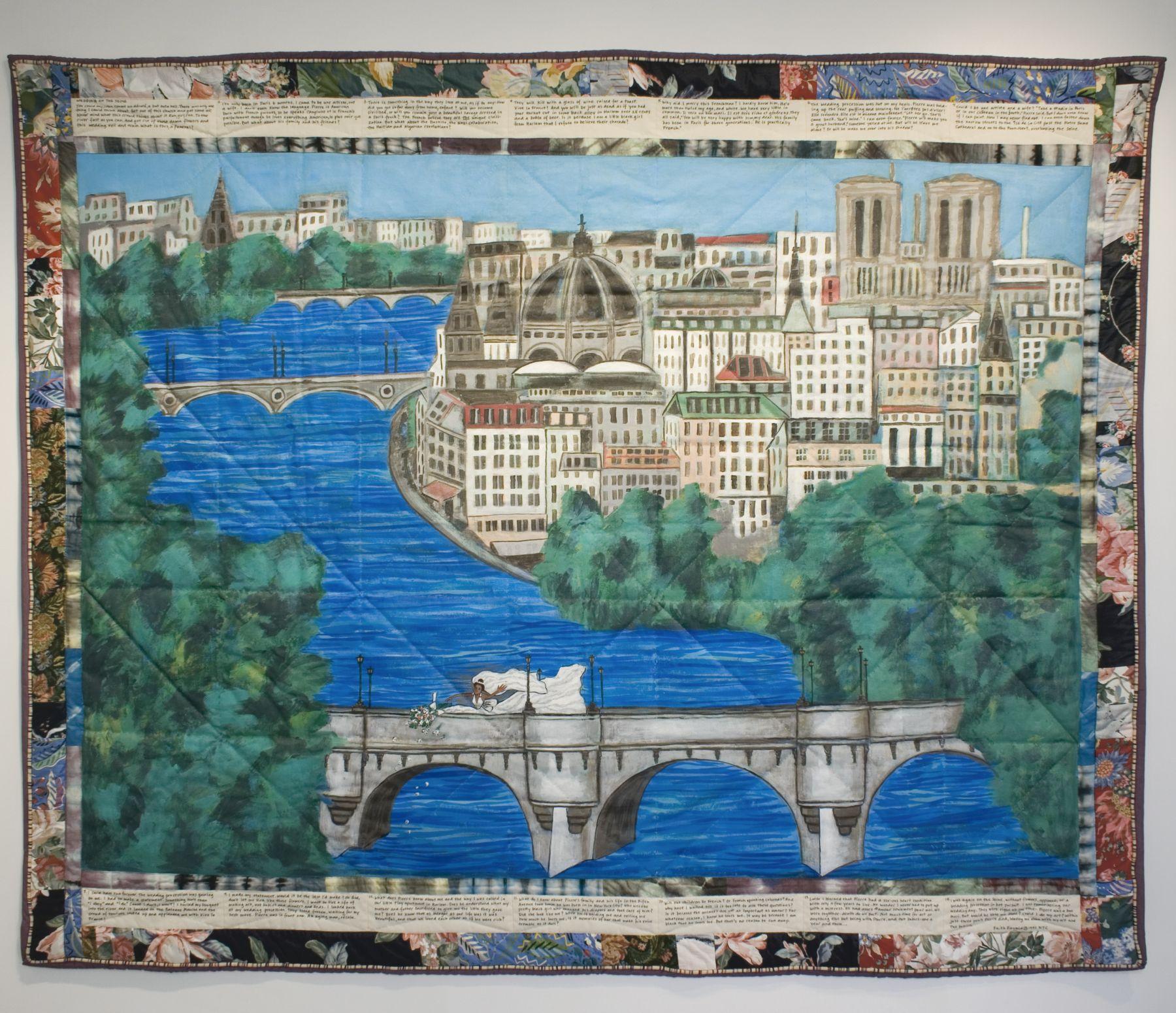 faith ringgold, Wedding on the Seine, 1991, acrylic on canvas, tie-dyed, pieced fabric border, 74 x 89 inches
