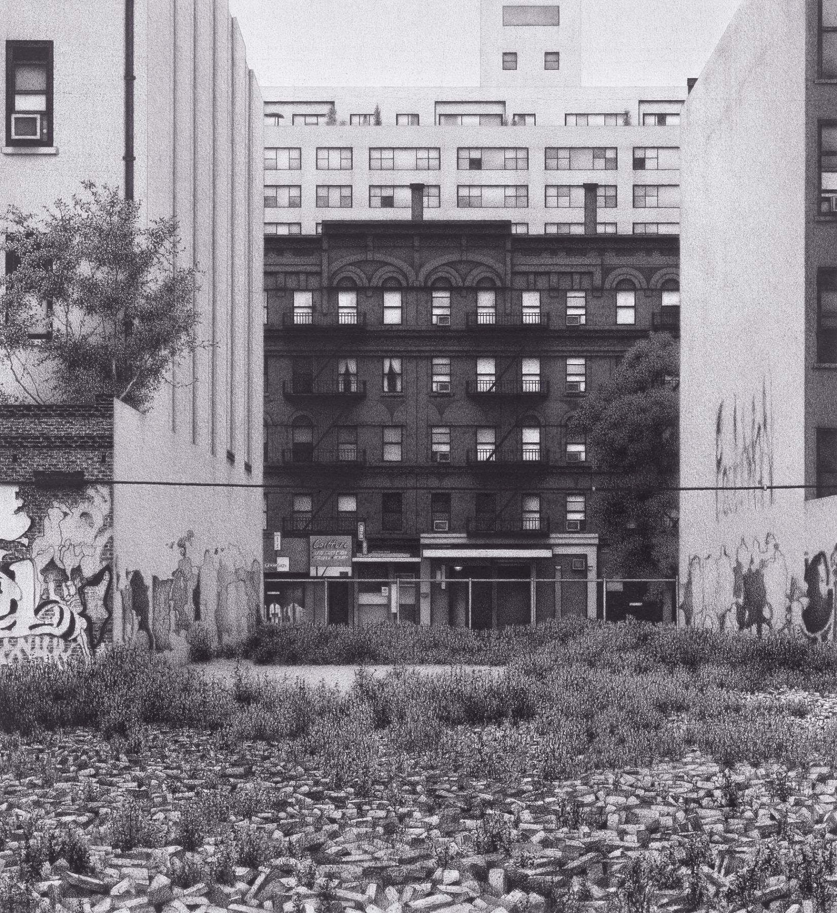Anthony Mitri Vacant Lot, Manhattan (SOLD), 2007, charcoal on paper, 18 x 16 1/2 inches