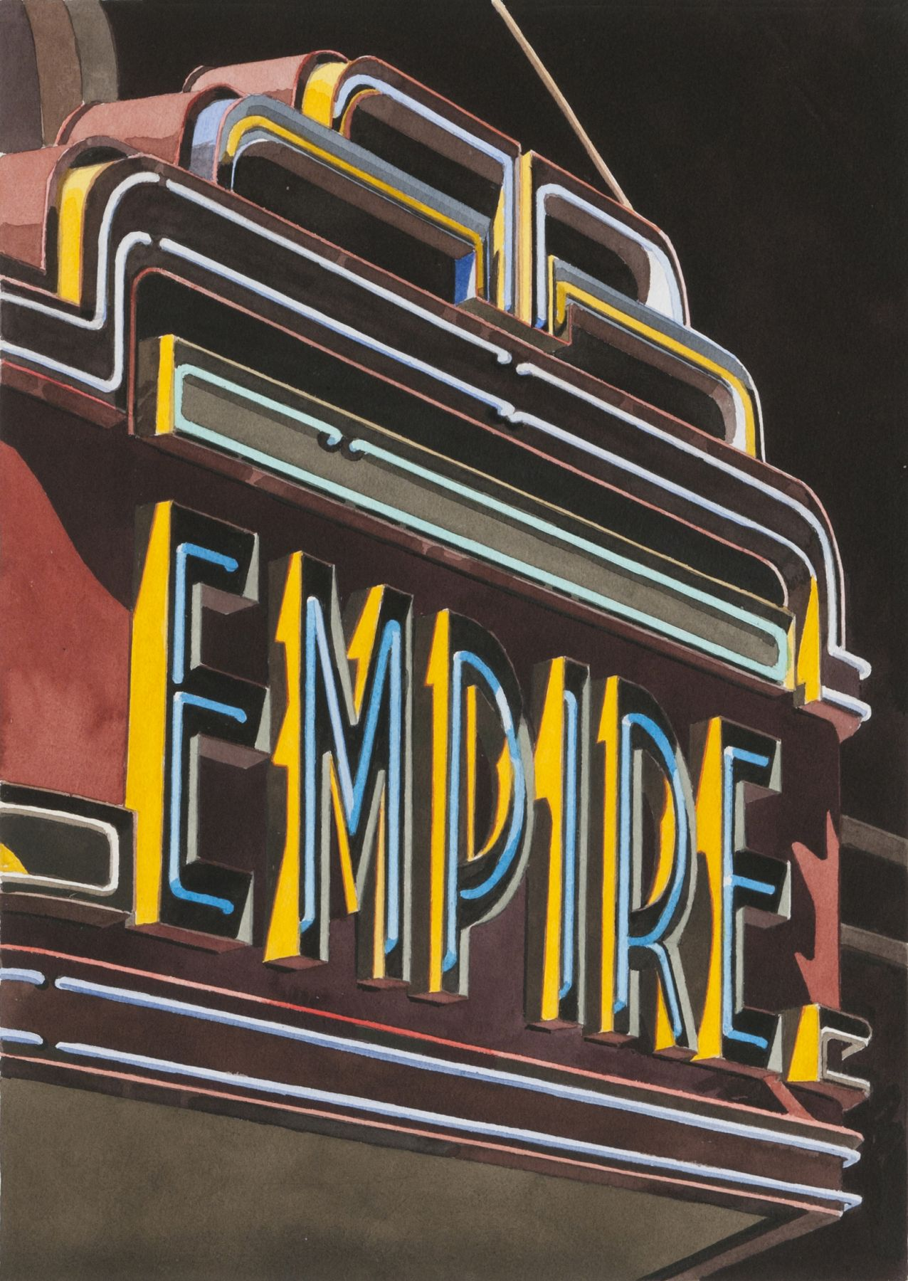 robert cottingham, Empire (SOLD), 2008, watercolor on paper, 18 7/8 x 13 1/2 inches