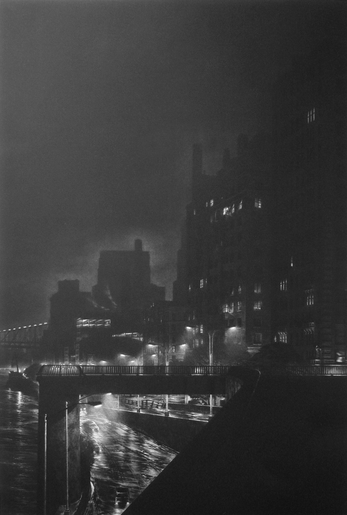 craig mcpherson, FDR Drive, 1993, mezzotint printed on white BFK Rives paper, 35 1/2 x 23 3/4 inches