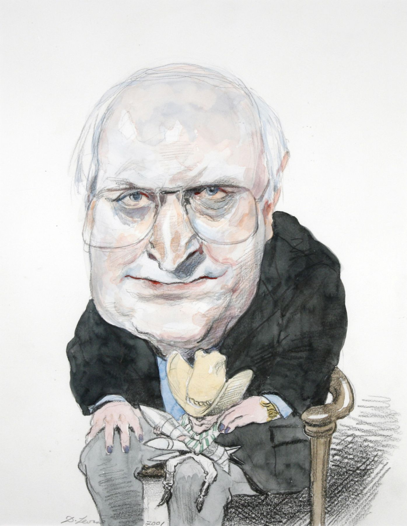 David Levine, Cheney & Bush, 2001, watercolor and pencil on paper, 14 x 11 inches