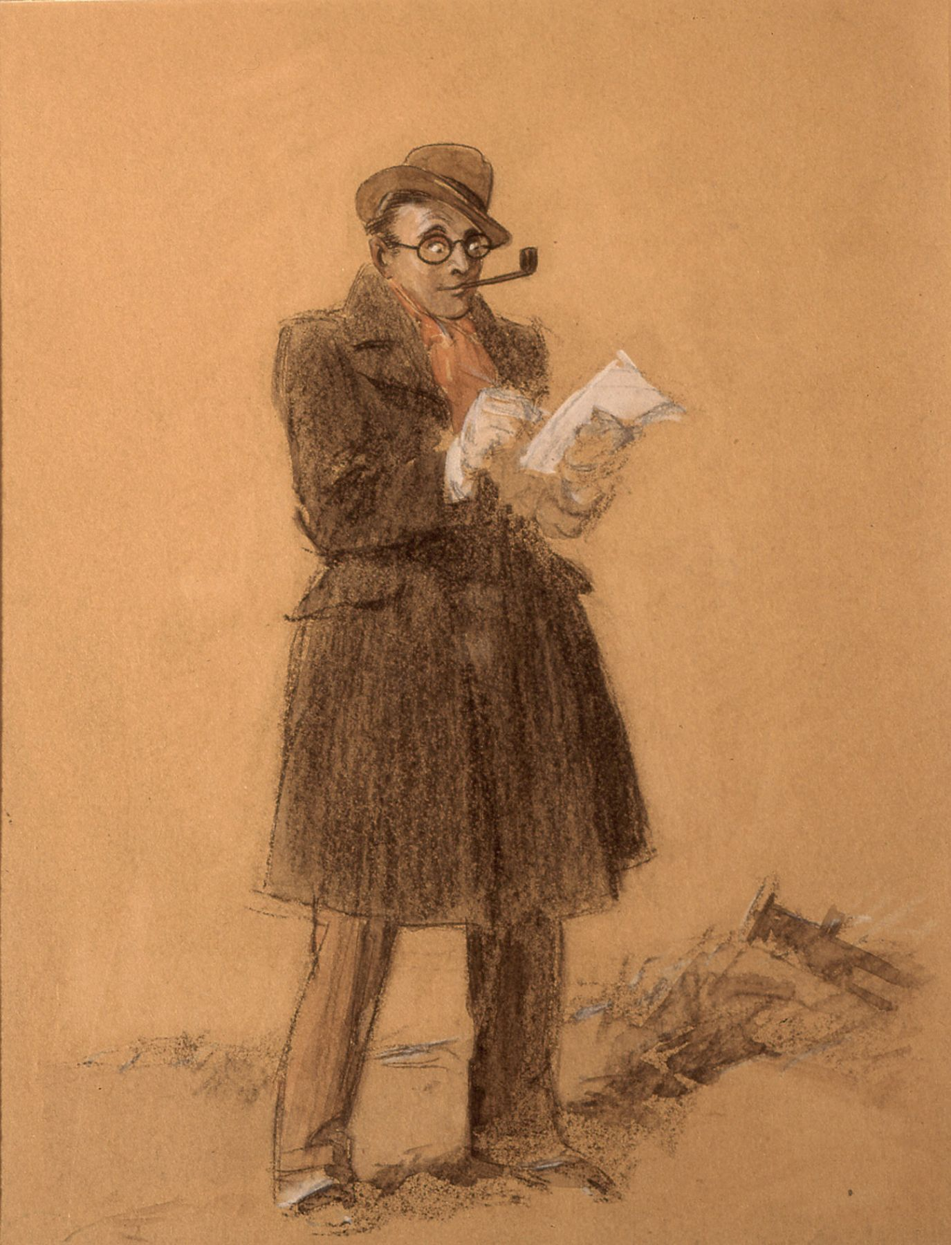 Everett Shinn, The Reporter (Self-Portrait) (SOLD), black chalk and pastel on tan paper, 10 1/4 x 8 1/2 inches