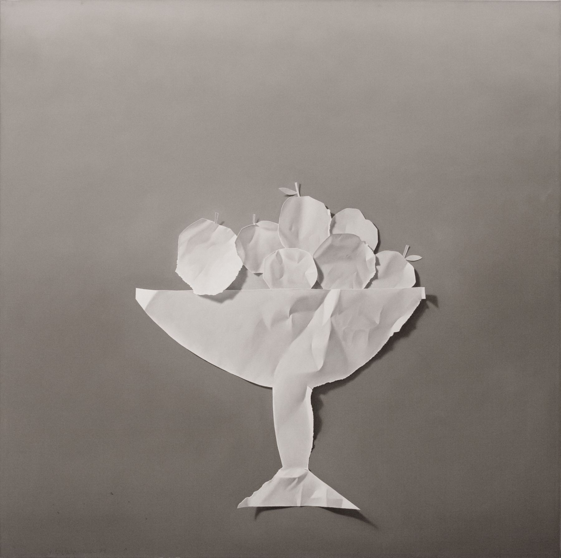 Yrjö Edelmann, Paper Apples, 1979, oil on canvas, 39 1/2 x 39 1/2 inches