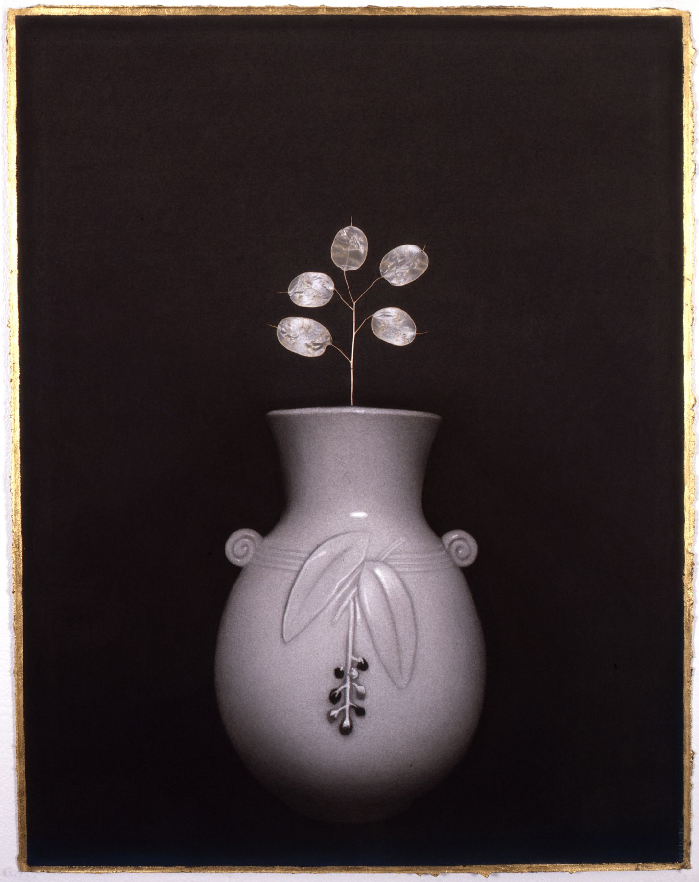 Susan Hauptman, Flowers (Lunaria), 2007, charcoal, gold leaf and lunaria on paper, 34 x 24 inches