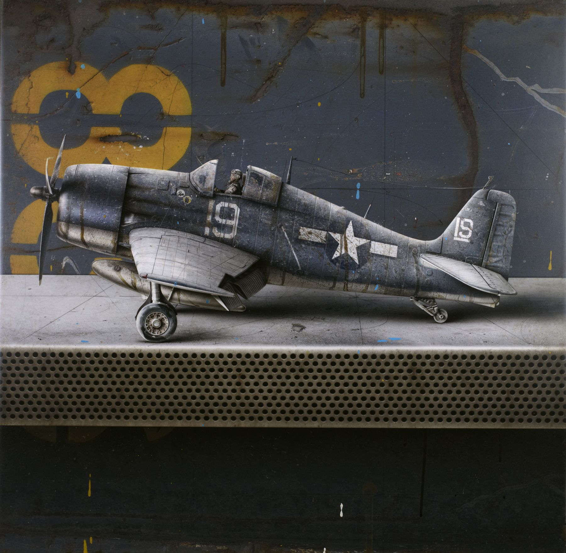 cesar galicia, F6F Hell Cat (SOLD), 2011, mixed media on board with silicon carbide, 25 3/4 x 26 1/4 inches