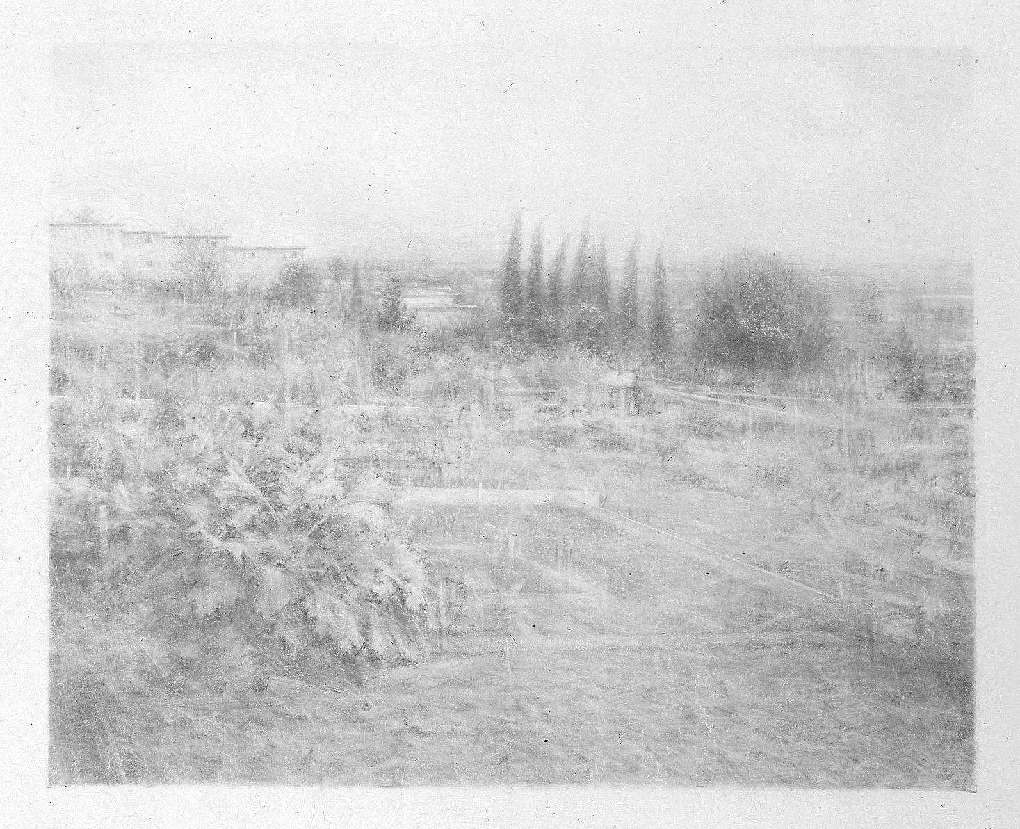 Robert Bauer, Centinela III, 2004, graphite on gessoed paper, 15 x 18 1/4 inches