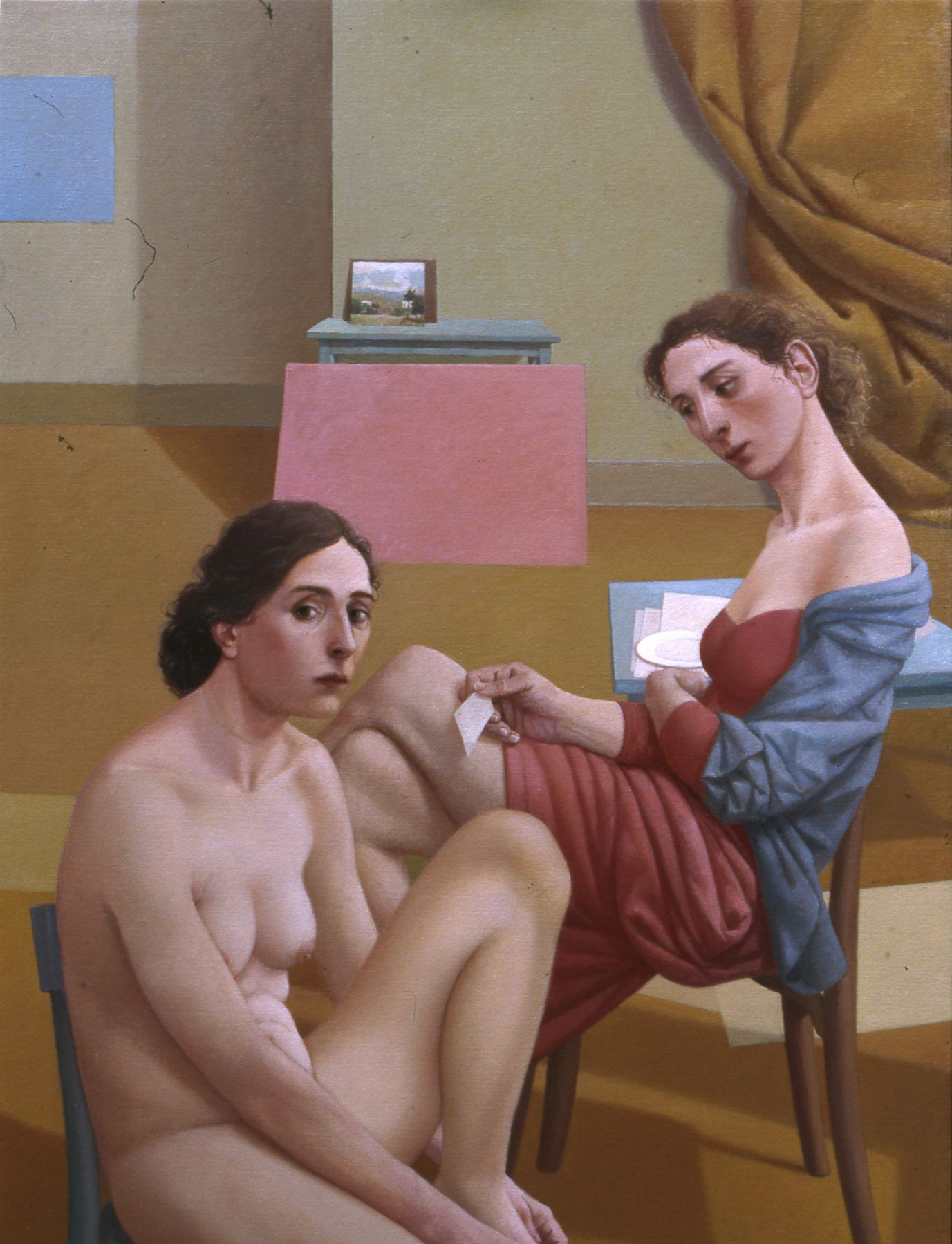 alan feltus, The Fabro's Wife and the Girl From Nowhere, 2011, oil on linen, 43 1/4 x 31 7/8 inches