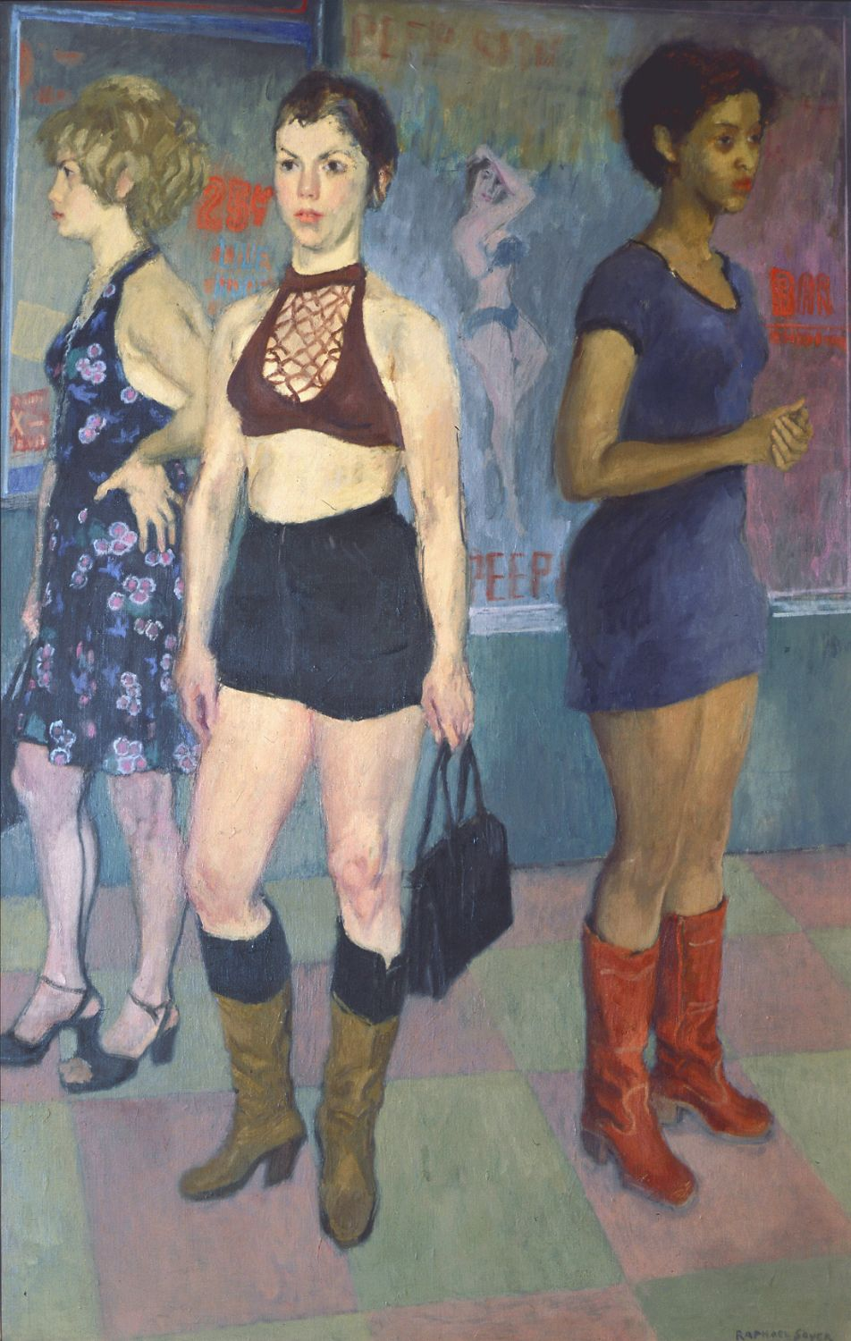 Raphael Soyer, Eighth Avenue, 1977, oil on canvas, 50 x 32 inches