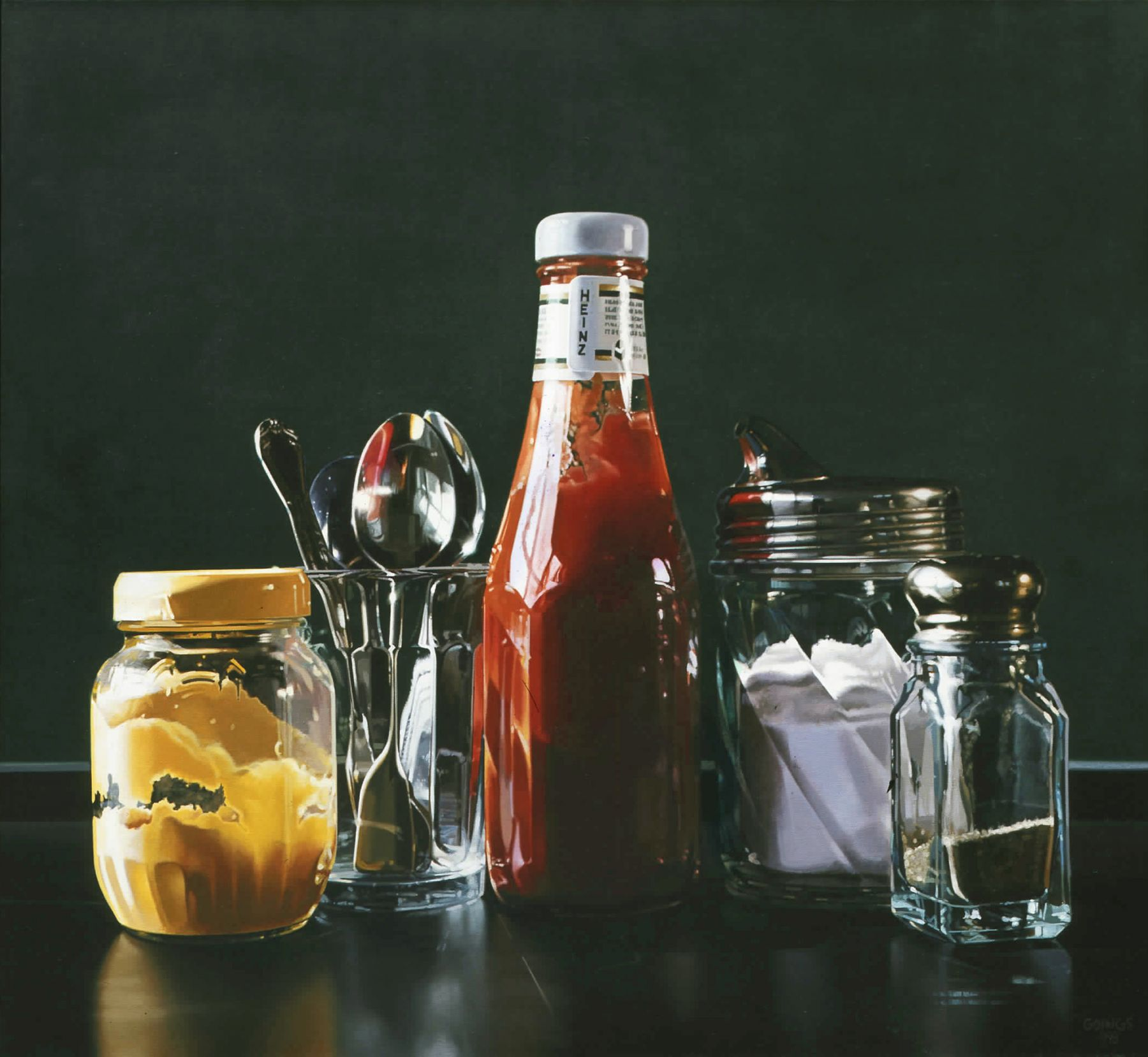 Ralph Goings, Still Life with Spoons, 1998, oil on linen, 32 x 25 inches