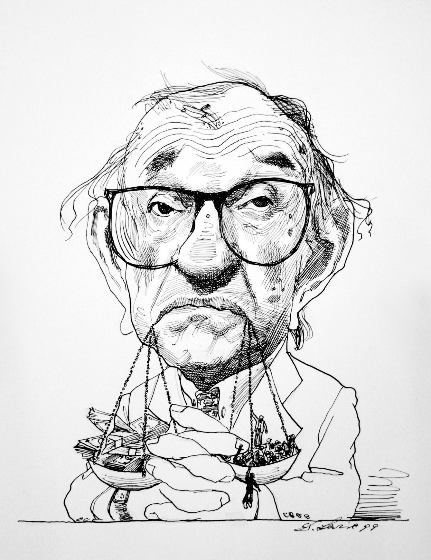 David Levine, Greenspan (SOLD), 1999, ink on paper, 14 x 11 inches