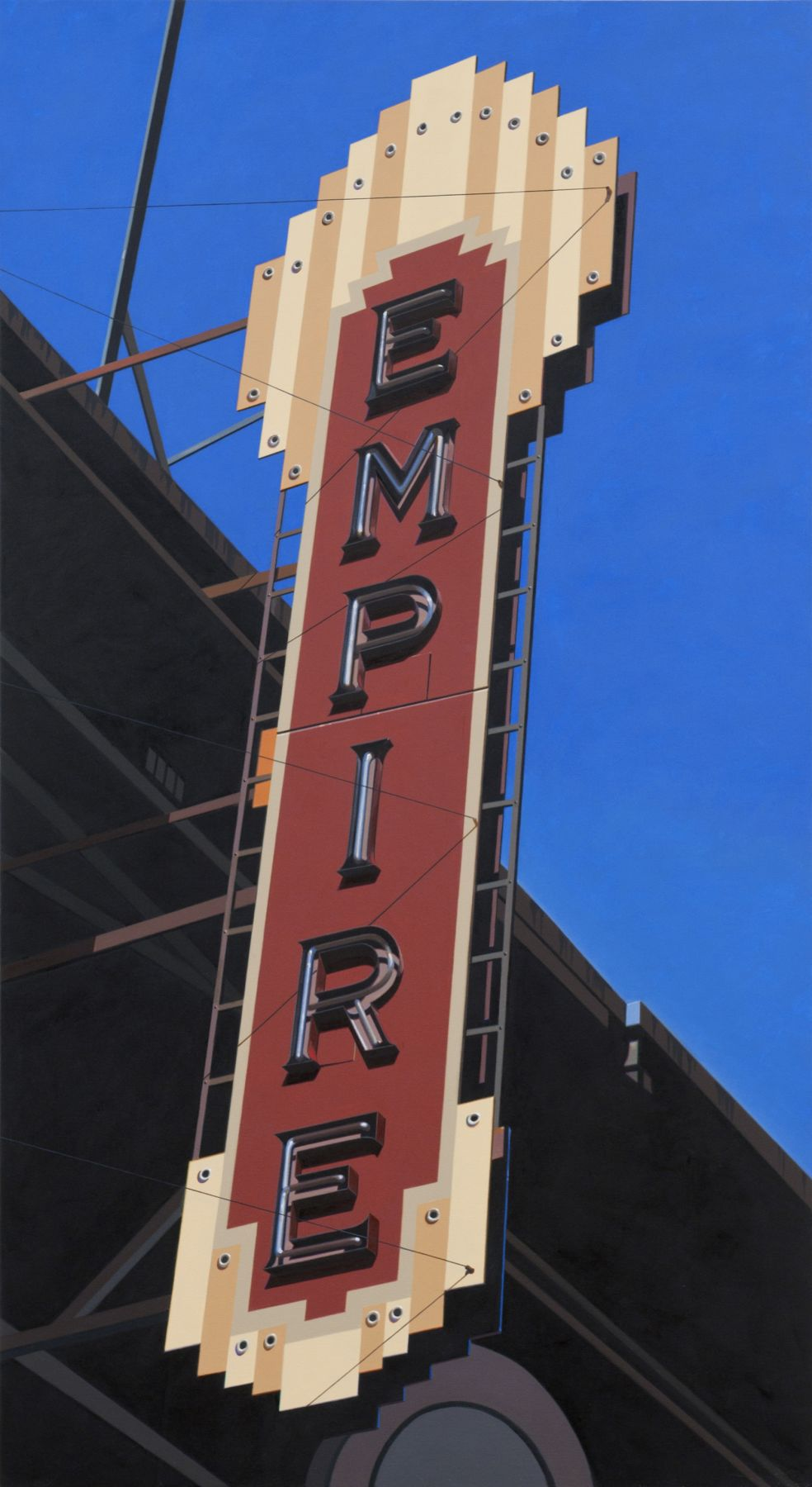 robert cottingham, Empire II (SOLD), 2010, oil on canvas, 82 1/2 x 45 inches