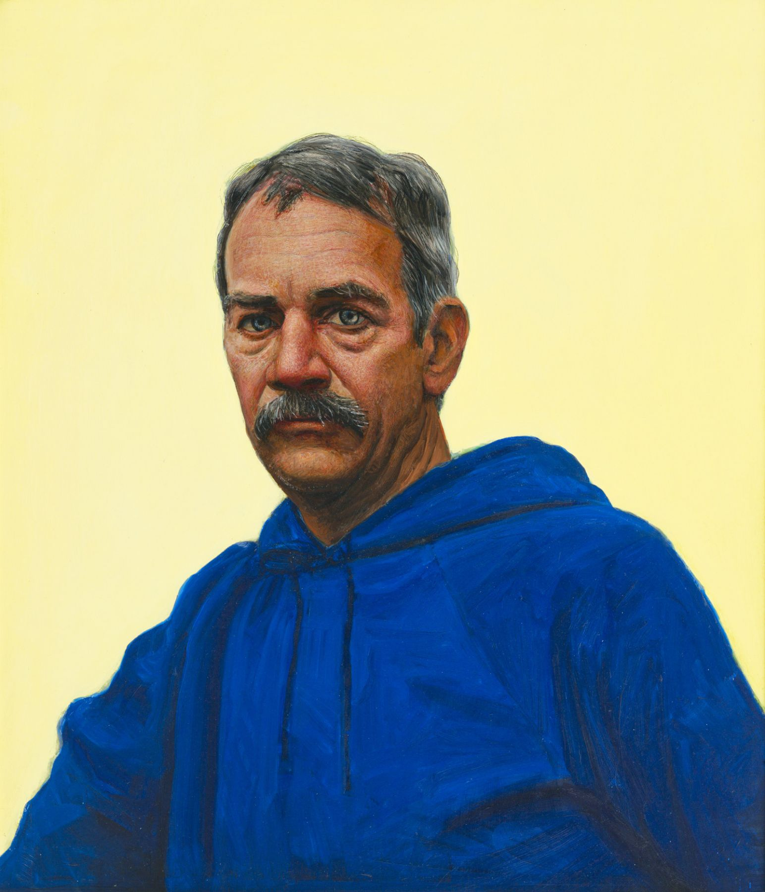 Gregory Gillespie, Self Portrait in Blue Hooded Sweatshirt, 1993, oil and alkyd on board, 26 x 22 1/2 inches