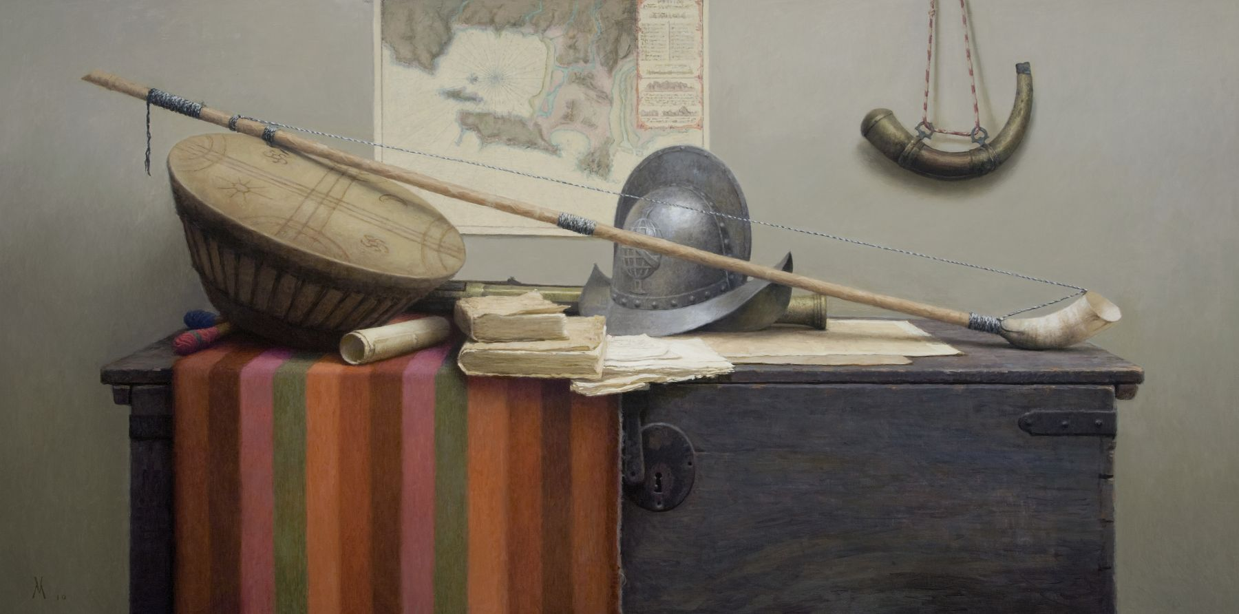 guillermo munoz vera, Colonial Still Life in Araucania, 2010, oil on canvas on panel, 39 3/8 x 78 3/4 inches