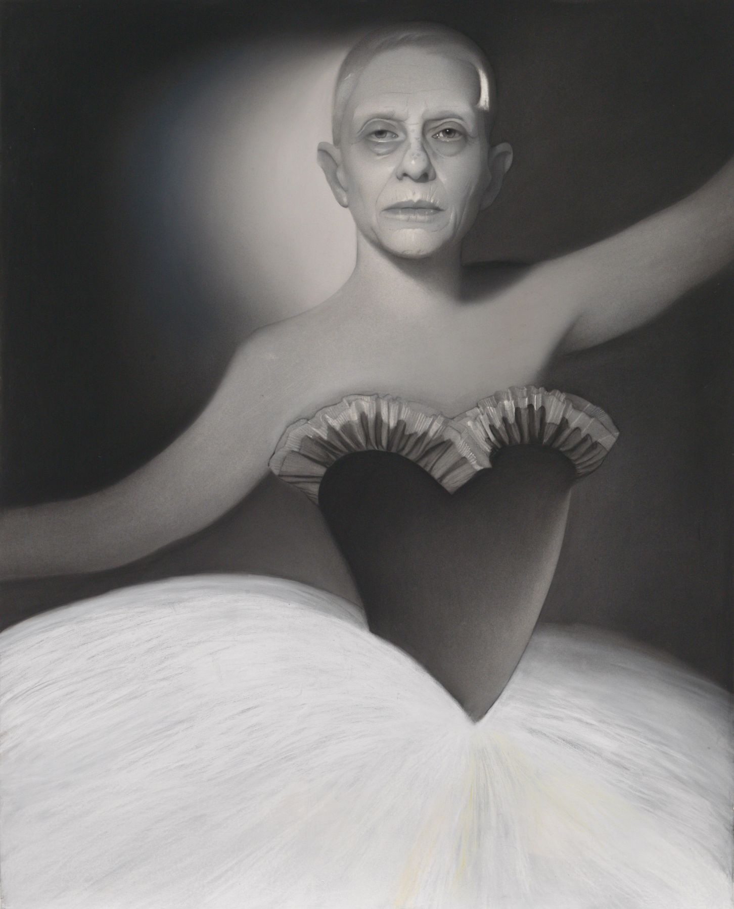 susan hauptman, Self Portrait (L'apres-midi D'un Faune), 2014, charcoal on paper, 47 1/2 x 59 inches