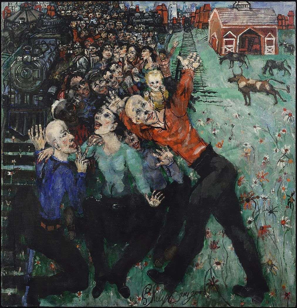 philip evergood, Workers Victory, 1948 oil on canvas on board 49 3/4 x 48 inches