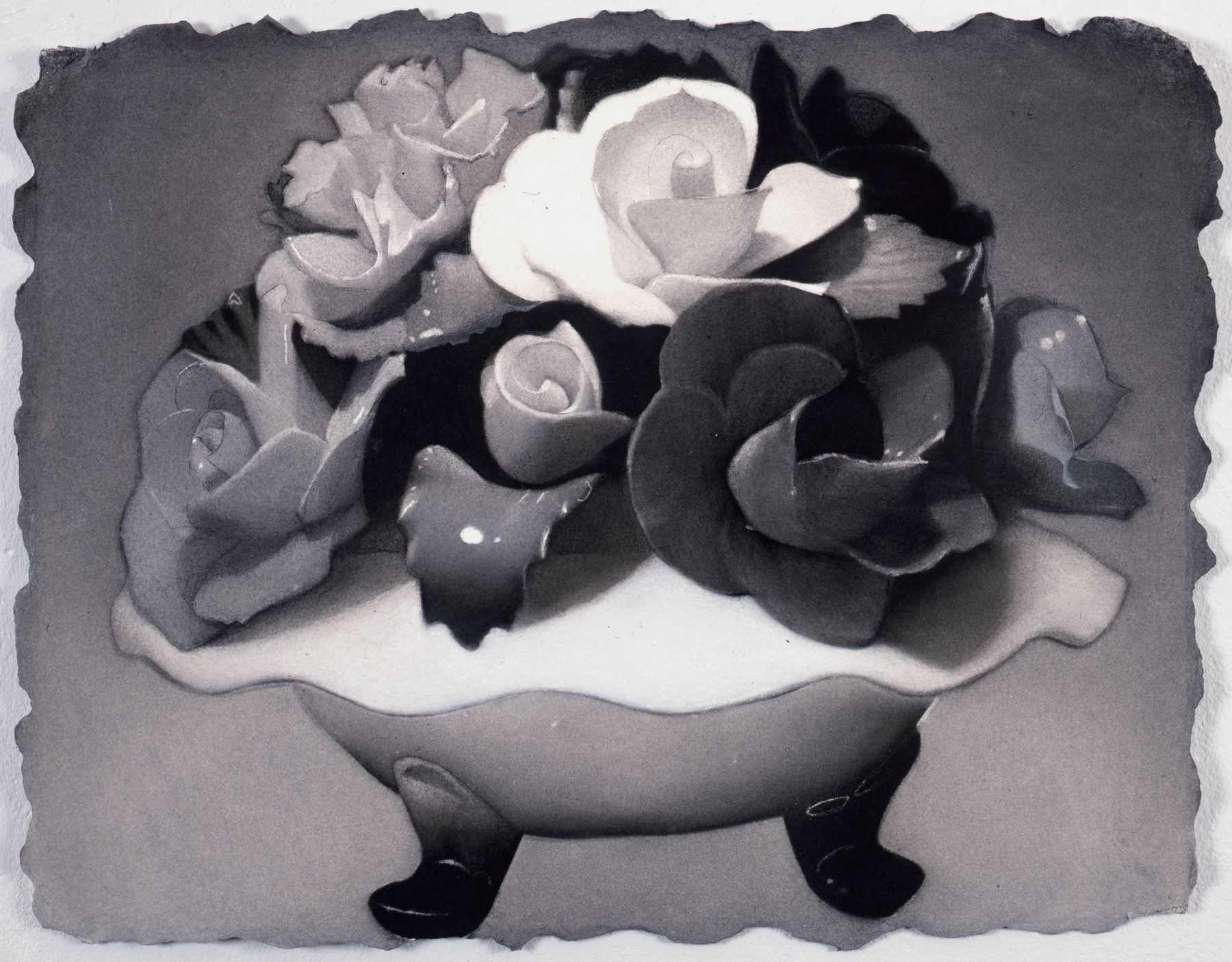 Susan Hauptman, Still Life (Rainbow's End, Staten Island No. 2), 2008-2009, charcoal on Twinrocker paper, 17 1/2 x 22 1/2 inches