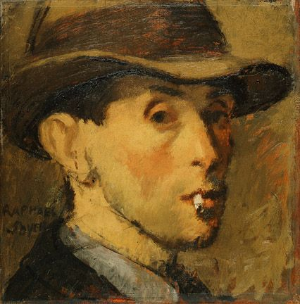 Raphael Soyer, Self-Portrait, c. 1930, oil on panel, 10 x 10 inches