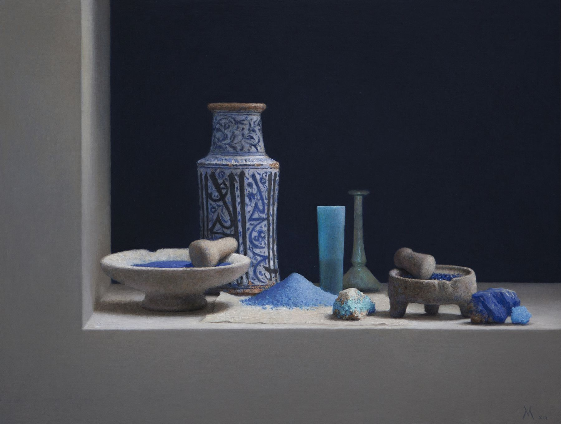 Guillermo Muñoz Vera, Blue Pigments (SOLD), 2012, oil on canvas mounted on panel, 24 x 31 1/2 inches