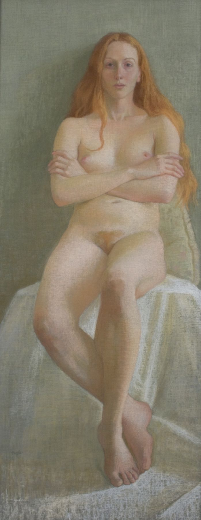 Ellen Eagle, Cynthia, 2013, pastel on pumice board, 37 x 15 1/2 inches